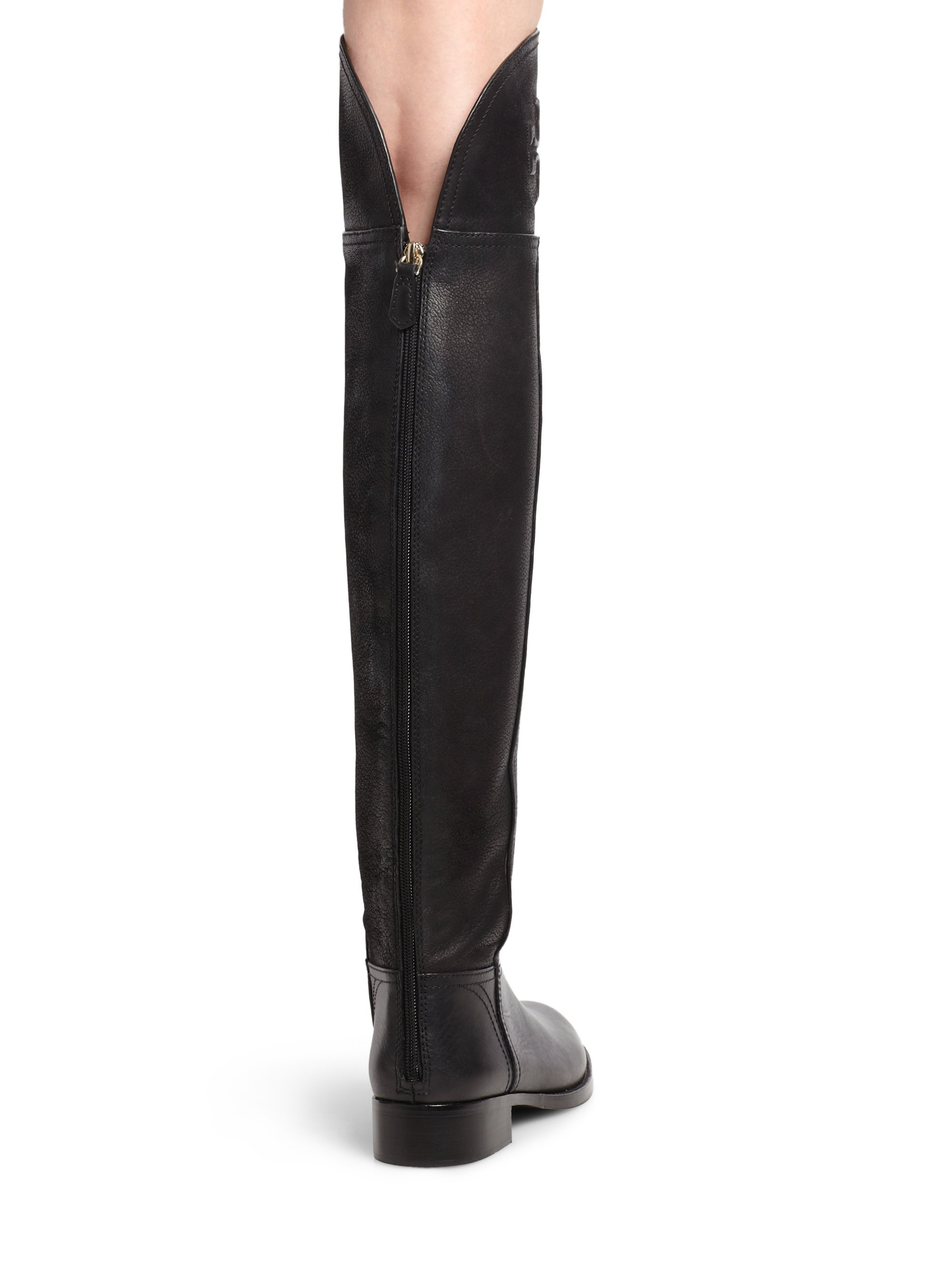 de406207687 Lyst - Tory Burch Simone Leather Overtheknee Boots in Black