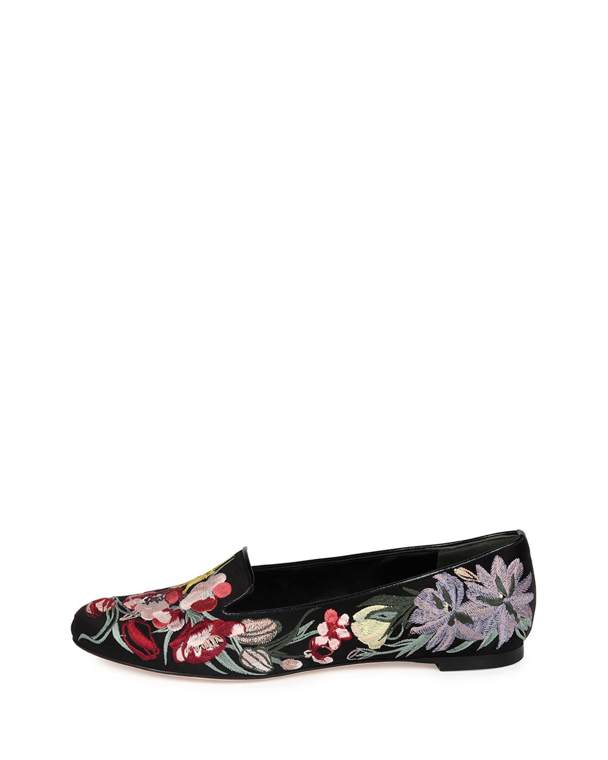 658d7a324a3 Lyst - Alexander McQueen Floral-Embroidered Satin Smoking Slippers ...