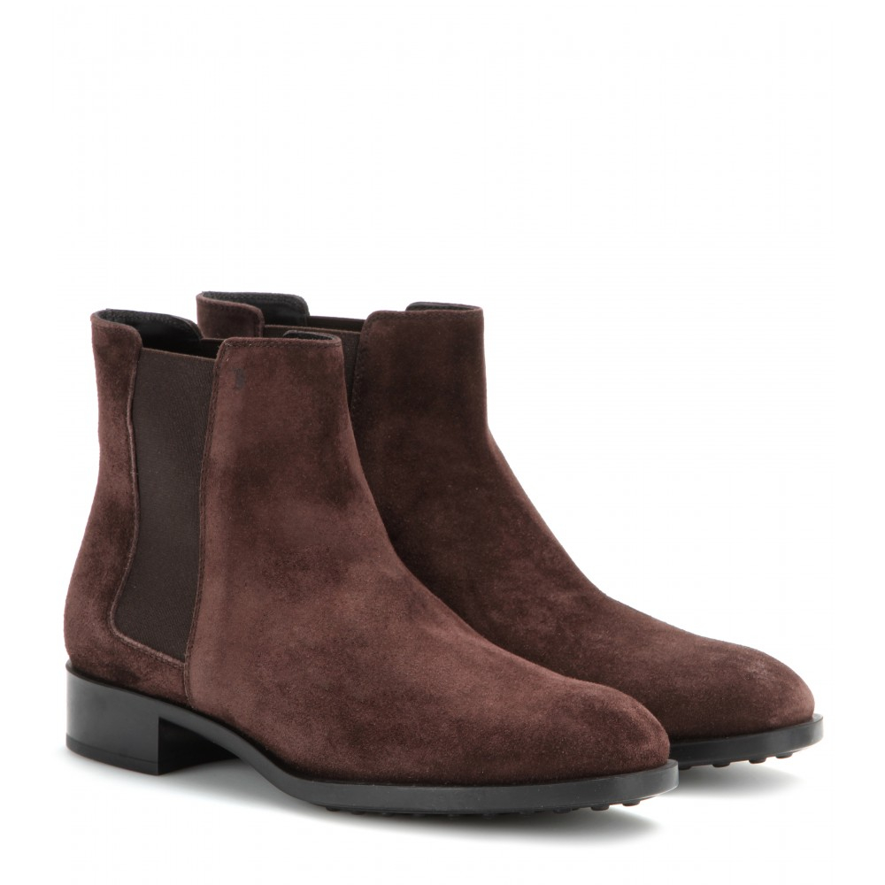 tod s suede chelsea boots in brown brown made in