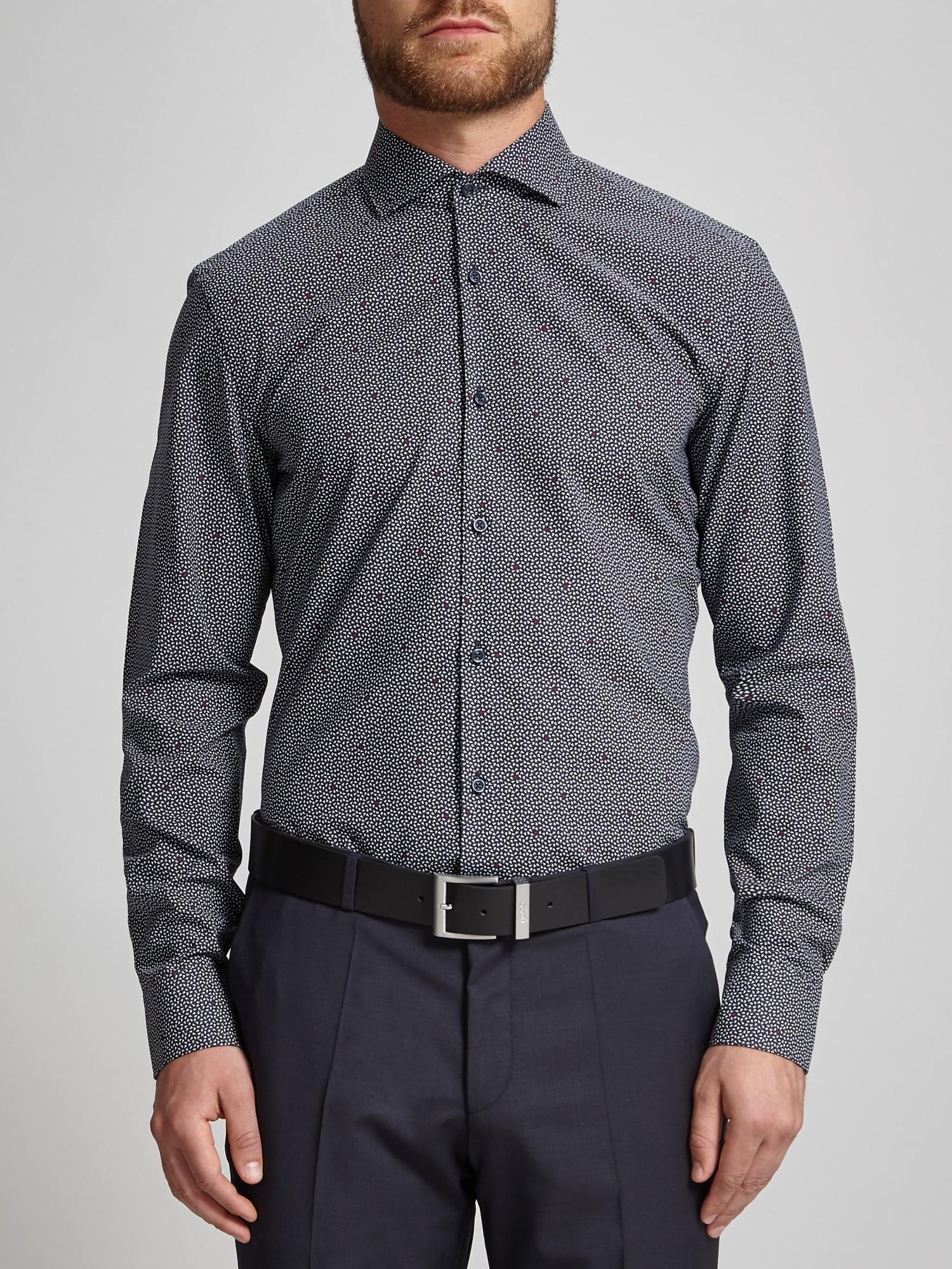 Boss hugo jason geometric print slim fit shirt in blue for for Hugo boss jason shirt