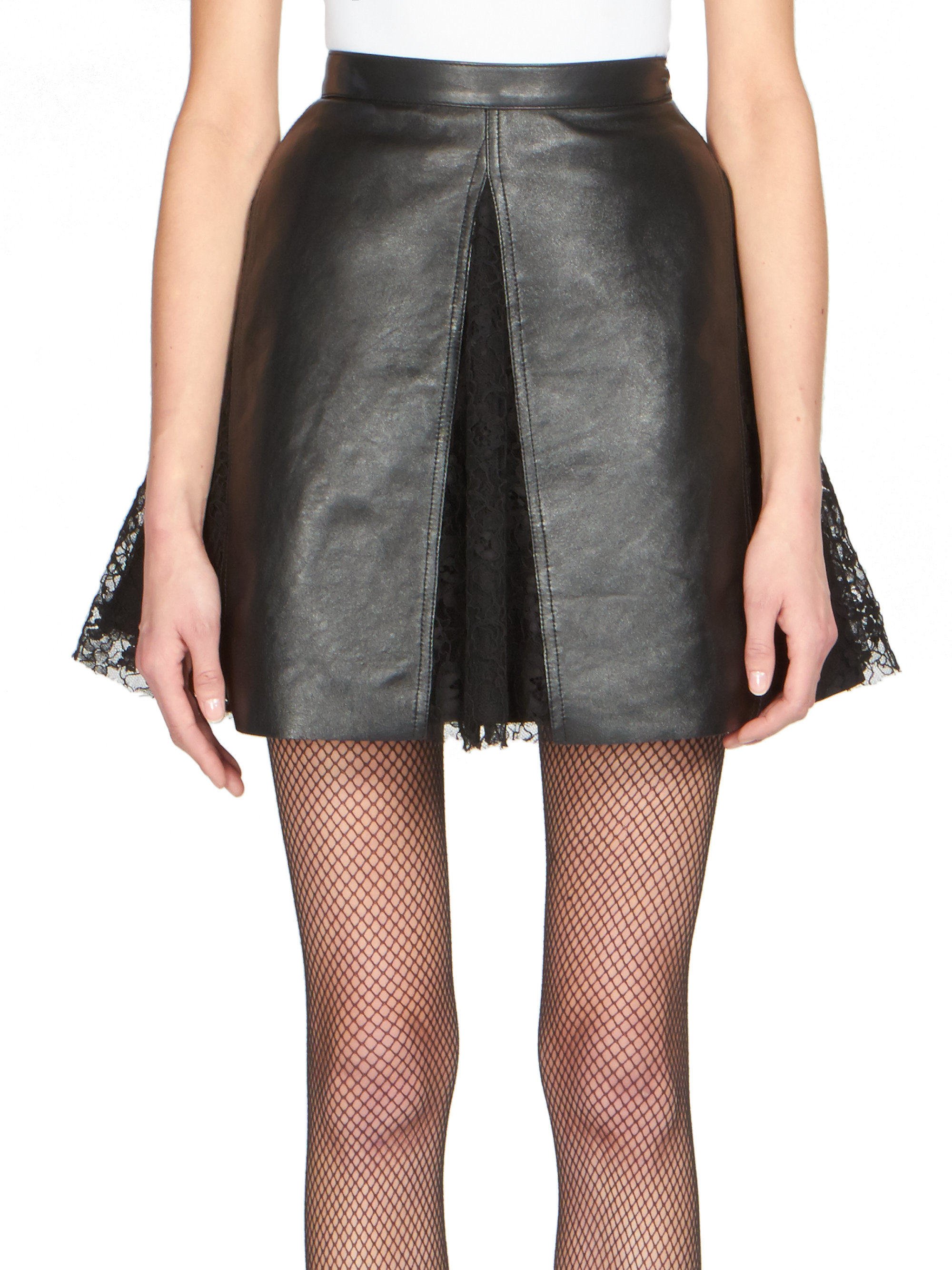 Saint laurent Leather Lace-cut Skirt in Black | Lyst