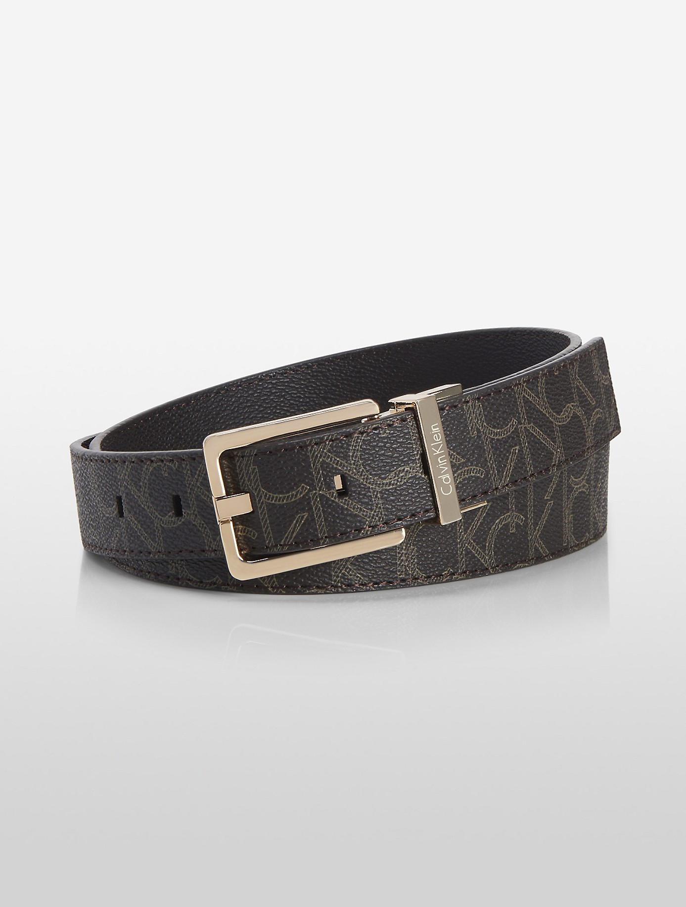 calvin klein white label logo jacquard reversible belt in