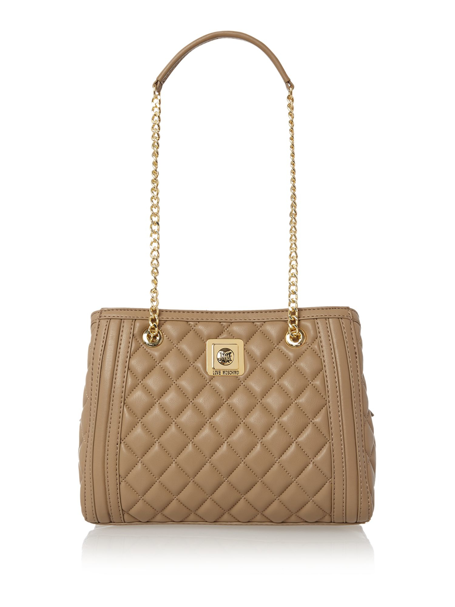 Love Moschino Taupe Medium Quilt Tote Bag in Brown