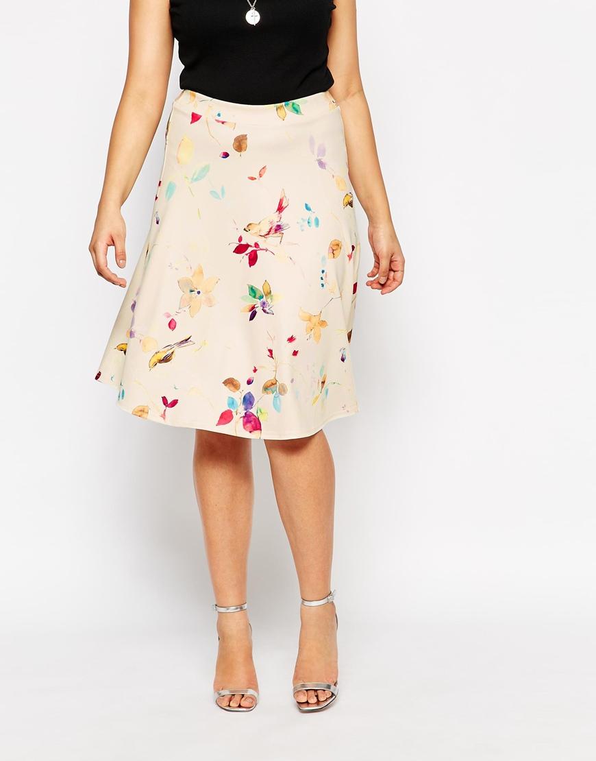 club l plus size a line skirt in bird print in lyst