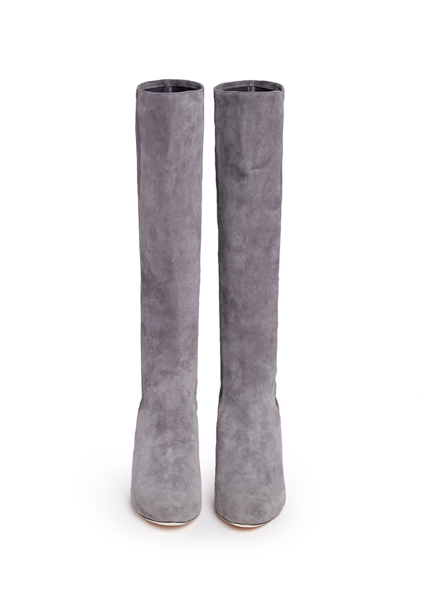 Cole haan 'barnard' Suede Knee High Boots in Gray | Lyst