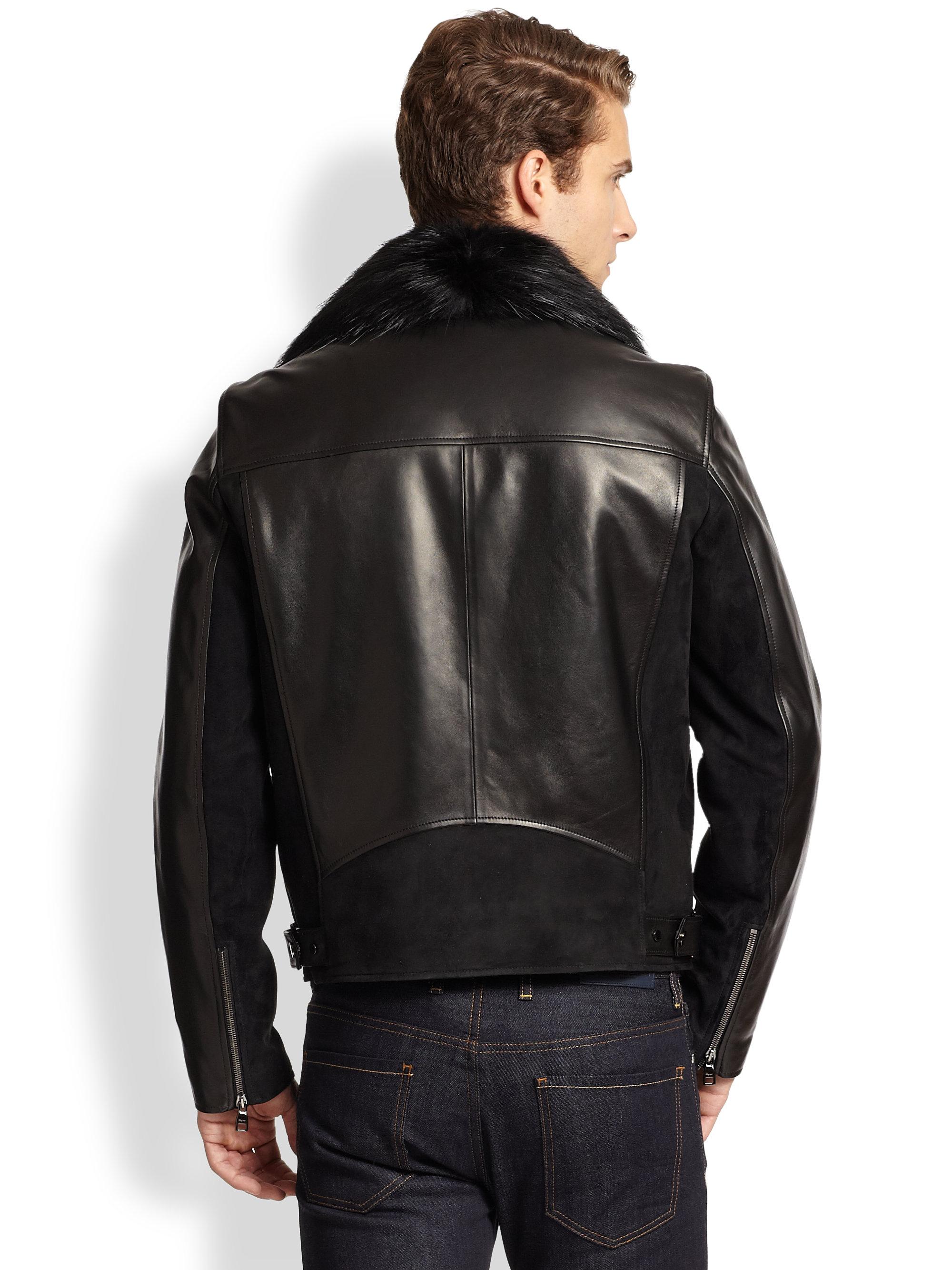 Lyst Ferragamo Fur Collar Leather Biker Jacket In Black