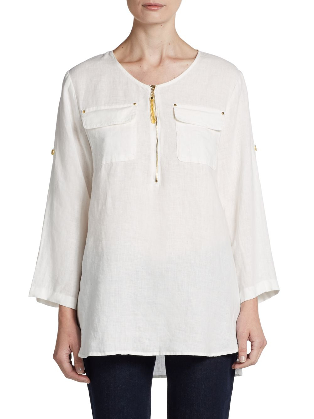 Ellen Tracy Roll Tab Sleeve Linen Tunic In White Chalk