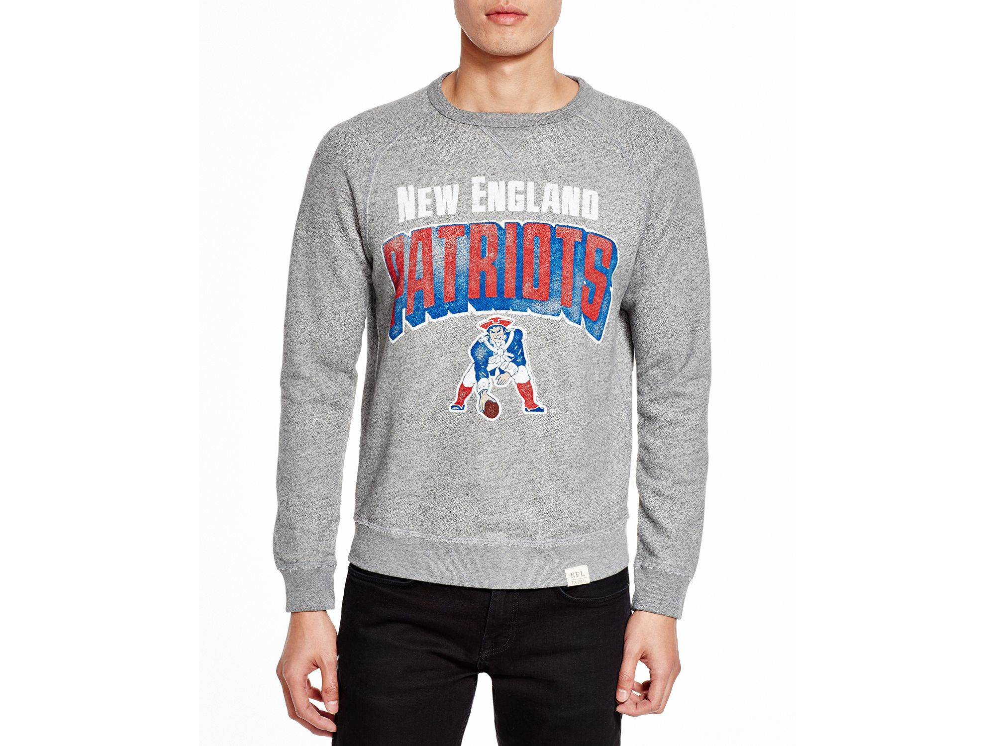 Lyst - Junk Food New England Patriots Crewneck Sweatshirt in Gray ... 380ab62df