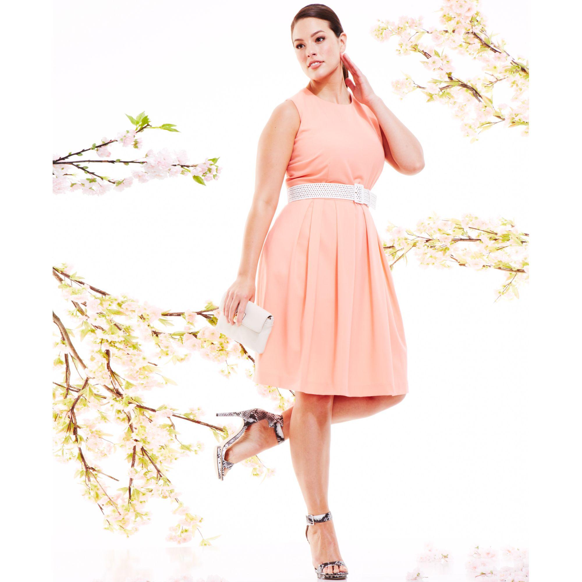 Plus Size Sleeveless Belted Aline Dress