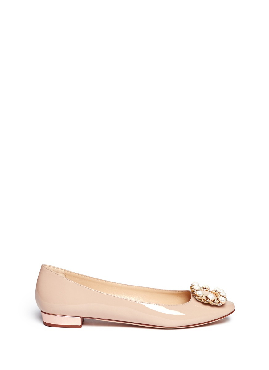 Lyst kate spade new york nolina pearl chain buckle for Kate spade new york flats