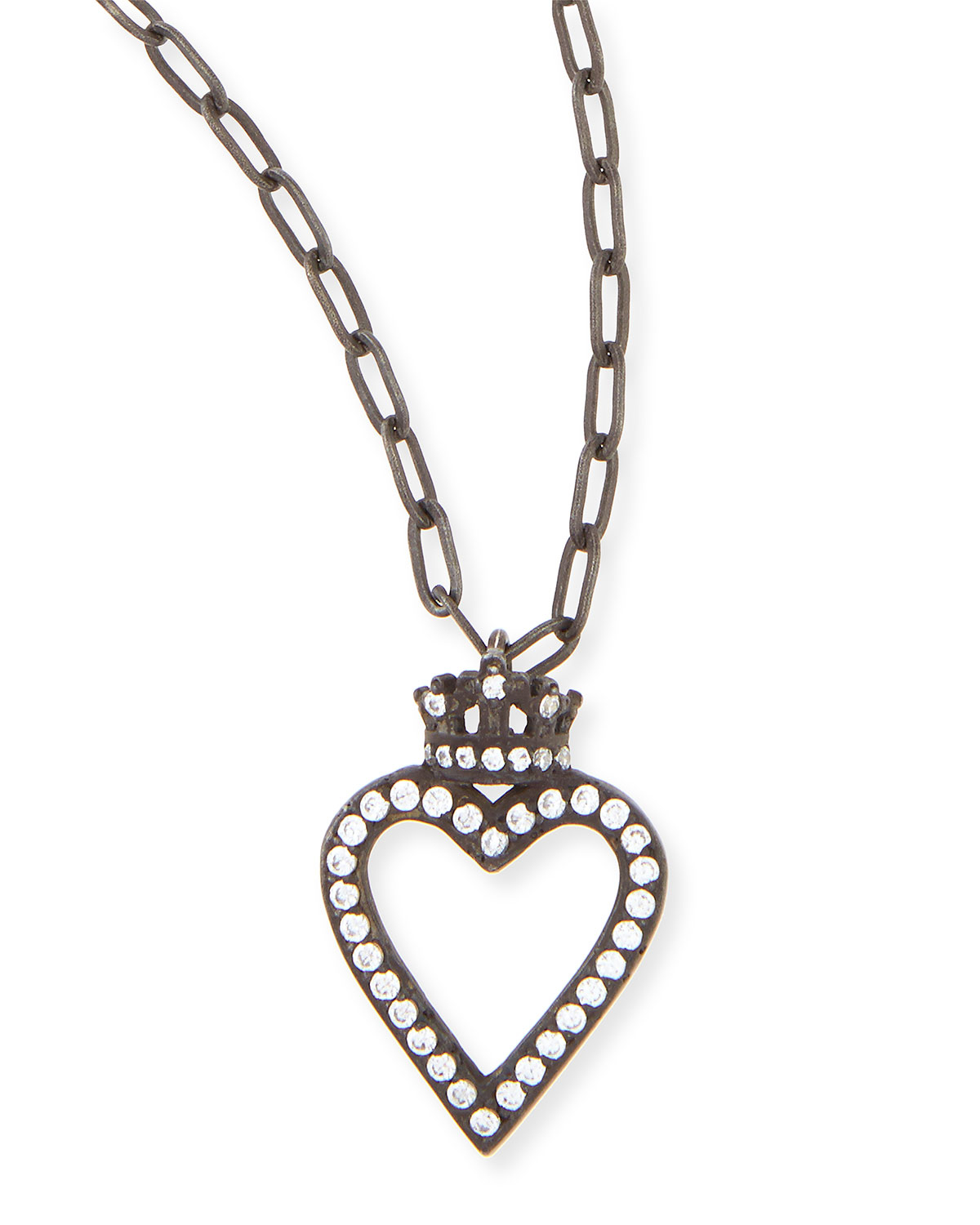 Katie design jewelry Black Crowned Open Heart Charm ...