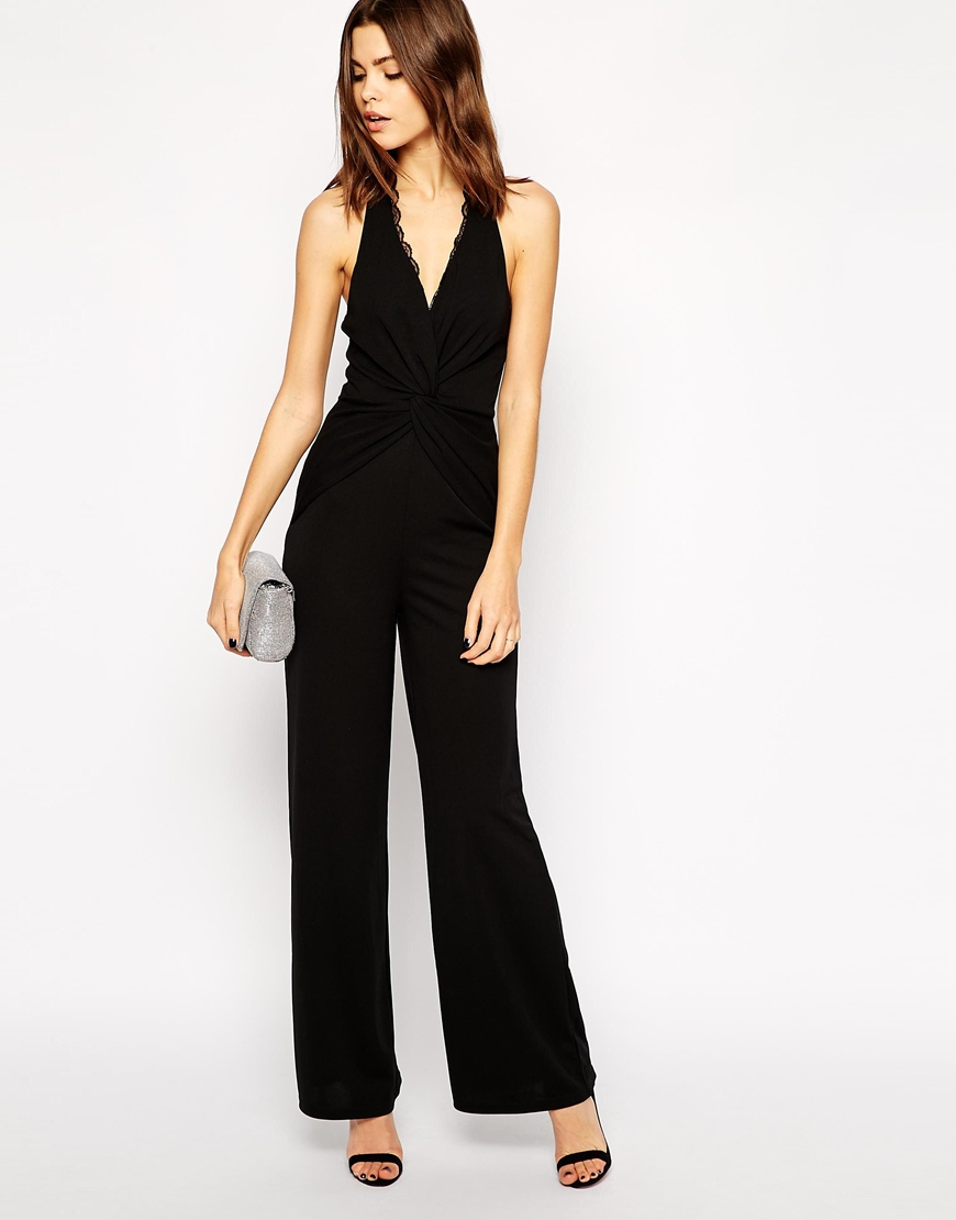 Lyst - Lipsy Halterneck Jumpsuit With Lace Trim In Black