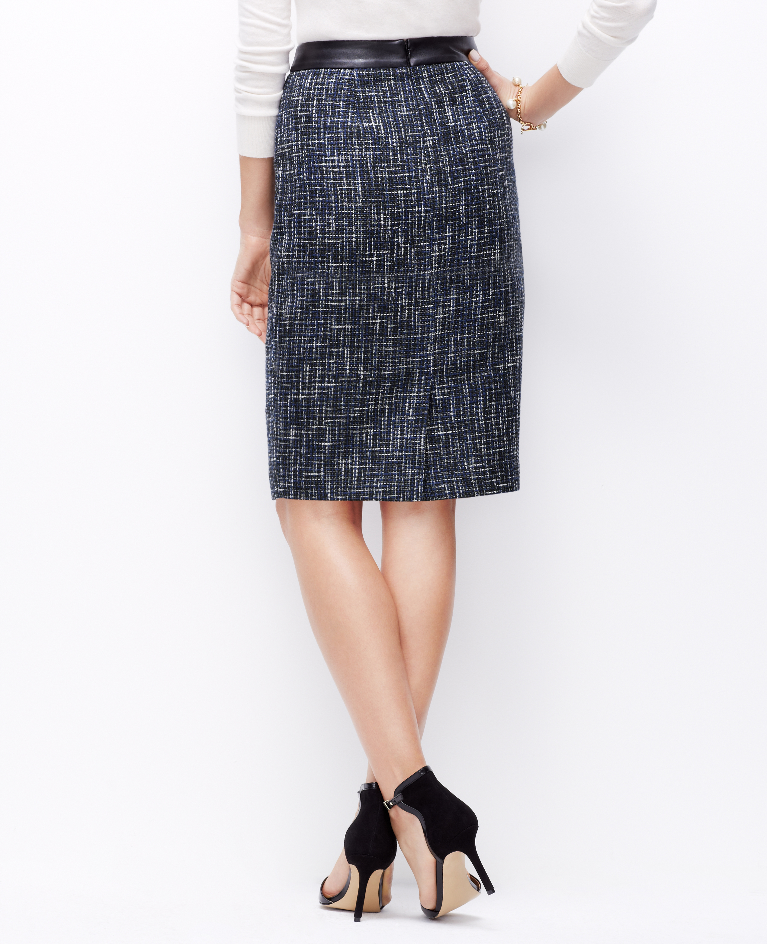 Ann Taylor Petite Faux Leather Waist Tweed Skirt In Blue