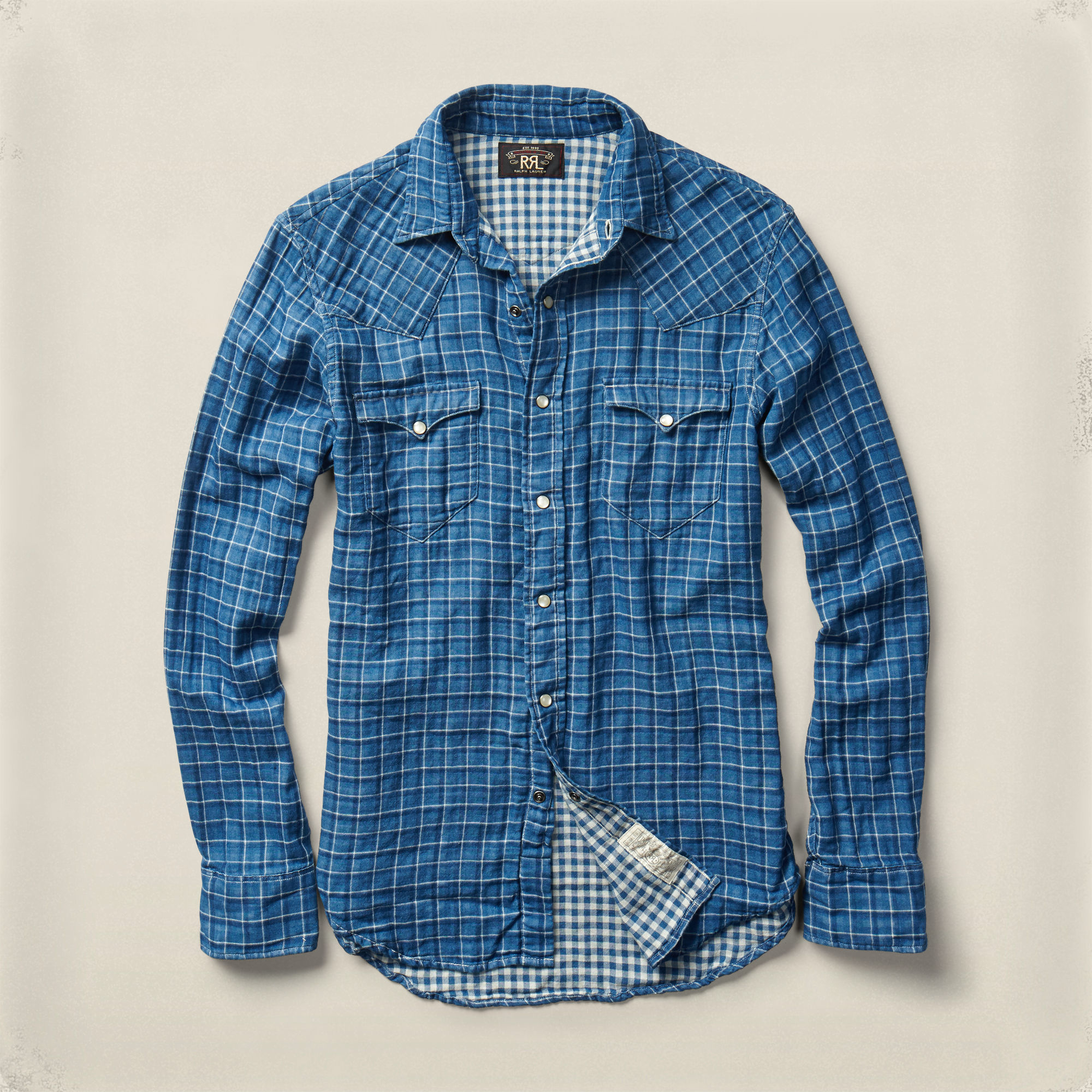 Lyst rrl slim buffalo cotton workshirt in blue for men for Blue cotton work shirts