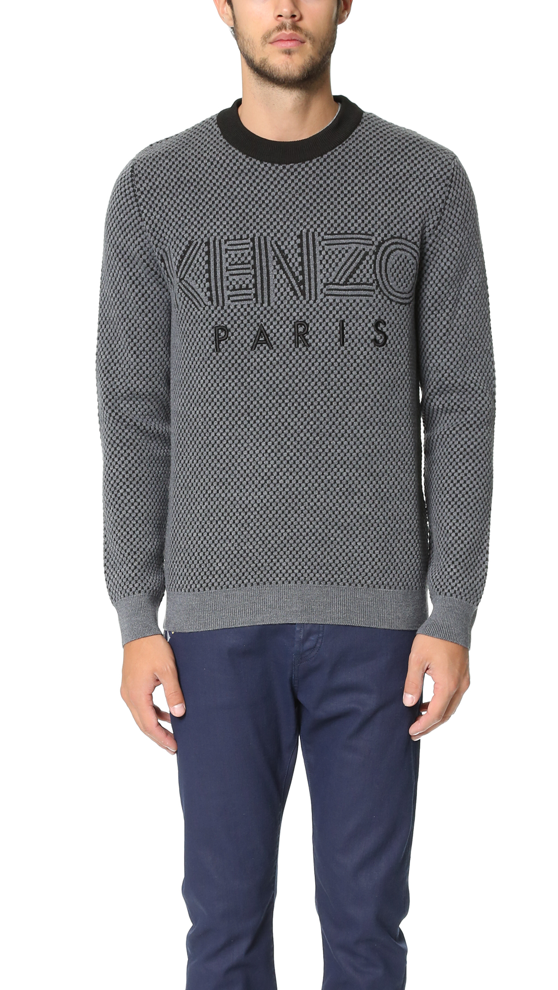 kenzo paris waffle knit sweater in gray for men lyst. Black Bedroom Furniture Sets. Home Design Ideas