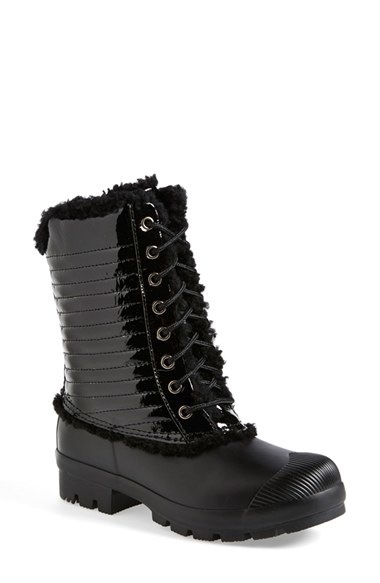 Hunter Original Genuine Shearling  Patent Leather Lace-Up