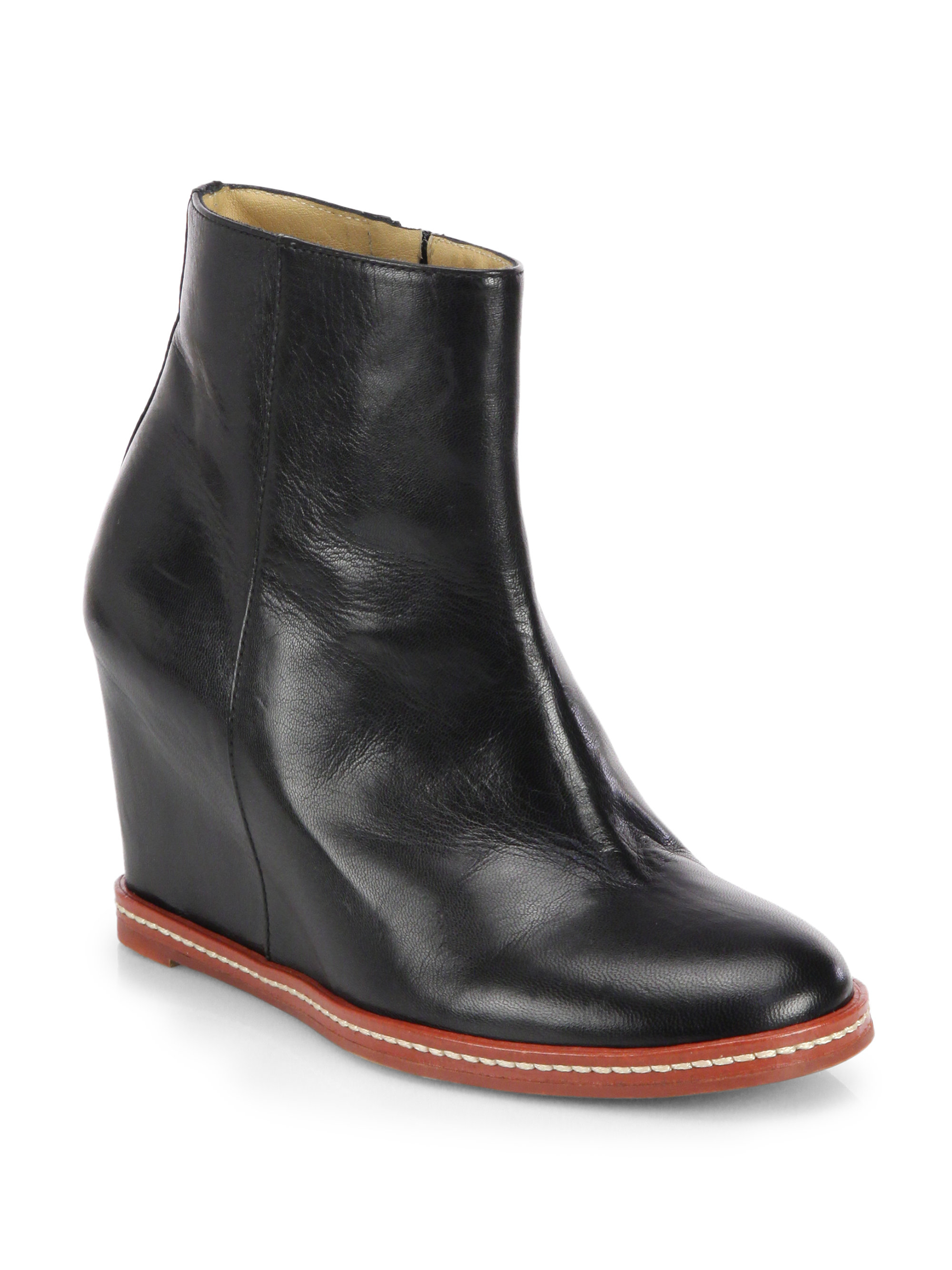 Mm6 by maison martin margiela Leather Hidden Wedge Ankle Boots in ...