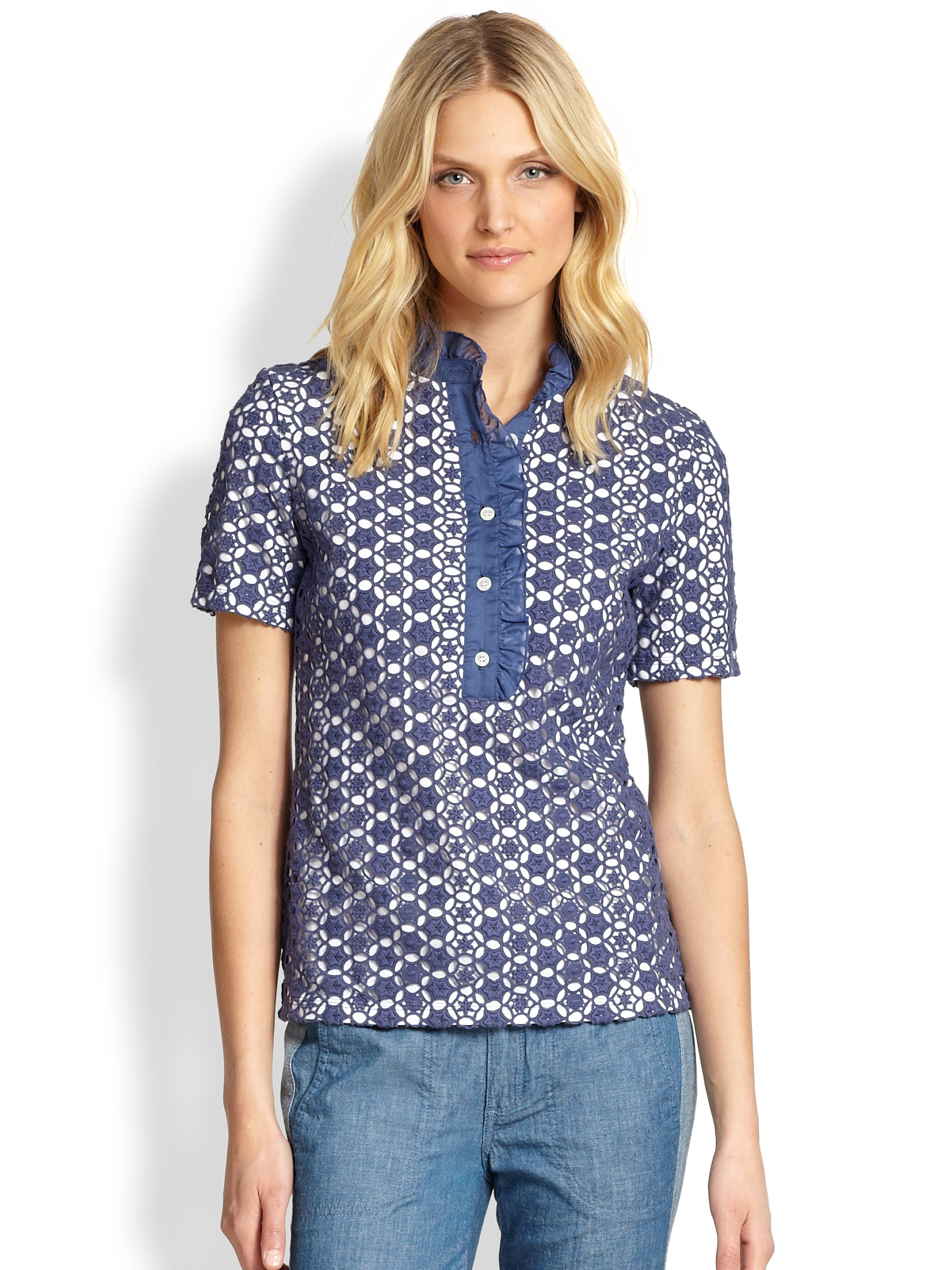 Tory Burch Lidia Lace Polo Shirt In Blue Indian Blue Lyst