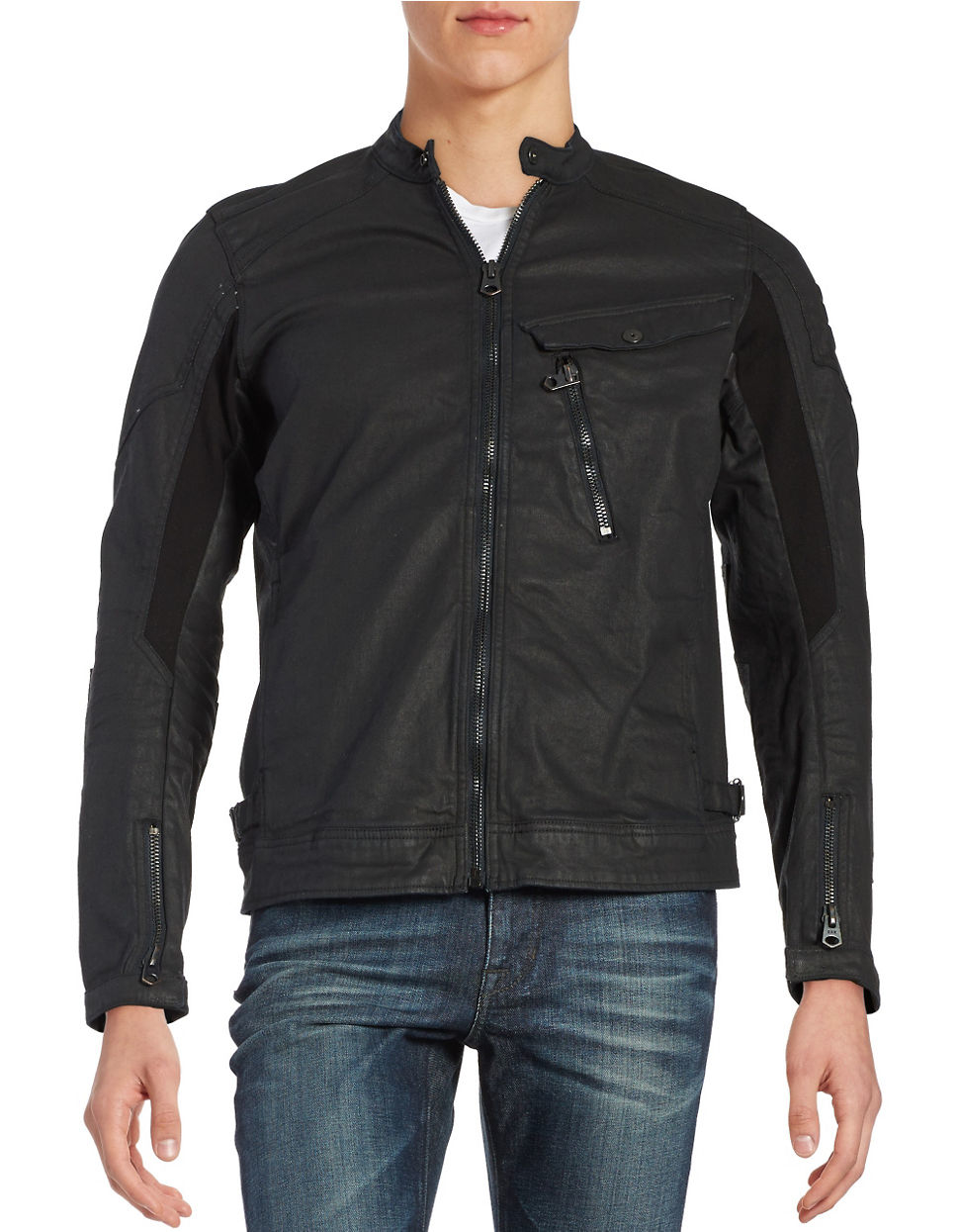 g star raw denim moto jacket in black for men lyst. Black Bedroom Furniture Sets. Home Design Ideas