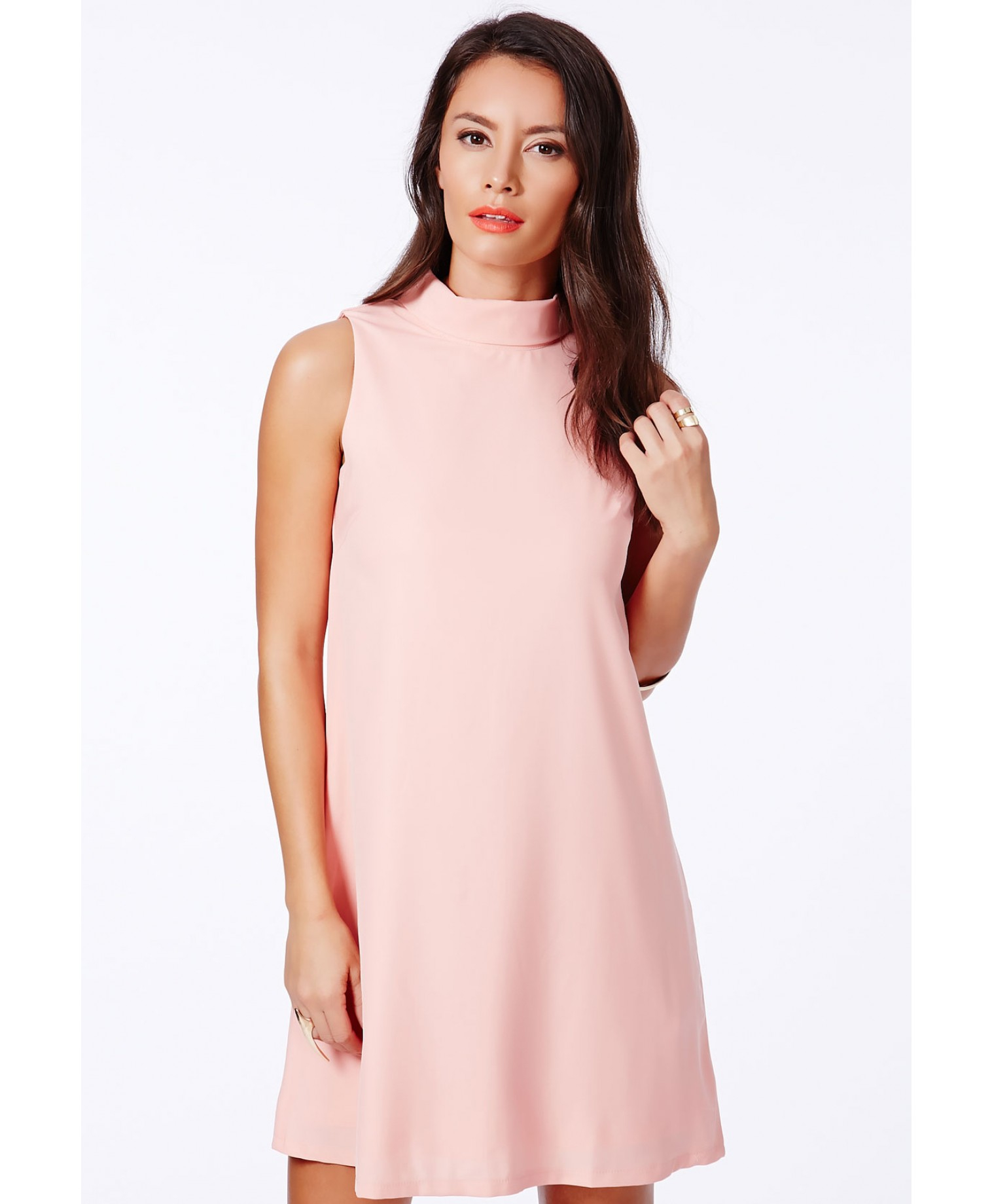 Missguided Jemna Pink Shift Dress With Roll Neck in Pink | Lyst