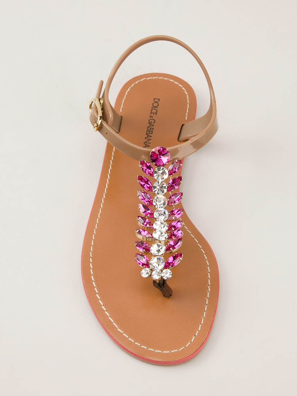 2007b43a2 Lyst - Dolce   Gabbana Embellished Sandals in Brown
