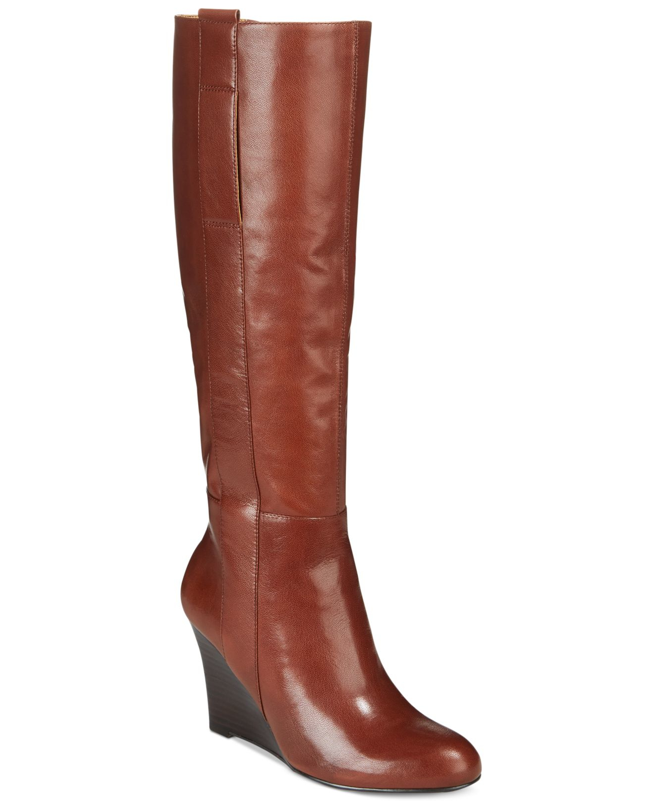 nine west oran wedge boots in brown brown leather