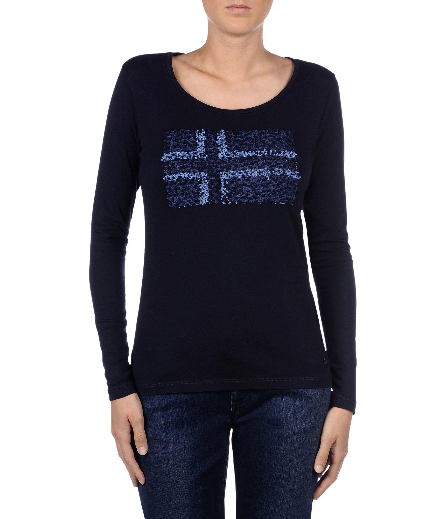 napapijri long sleeve t shirt in blue lyst. Black Bedroom Furniture Sets. Home Design Ideas