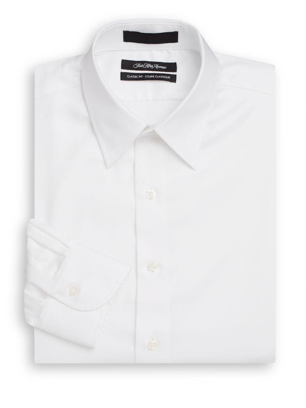 Saks Fifth Avenue Classic Fit Cotton Twill Dress Shirt