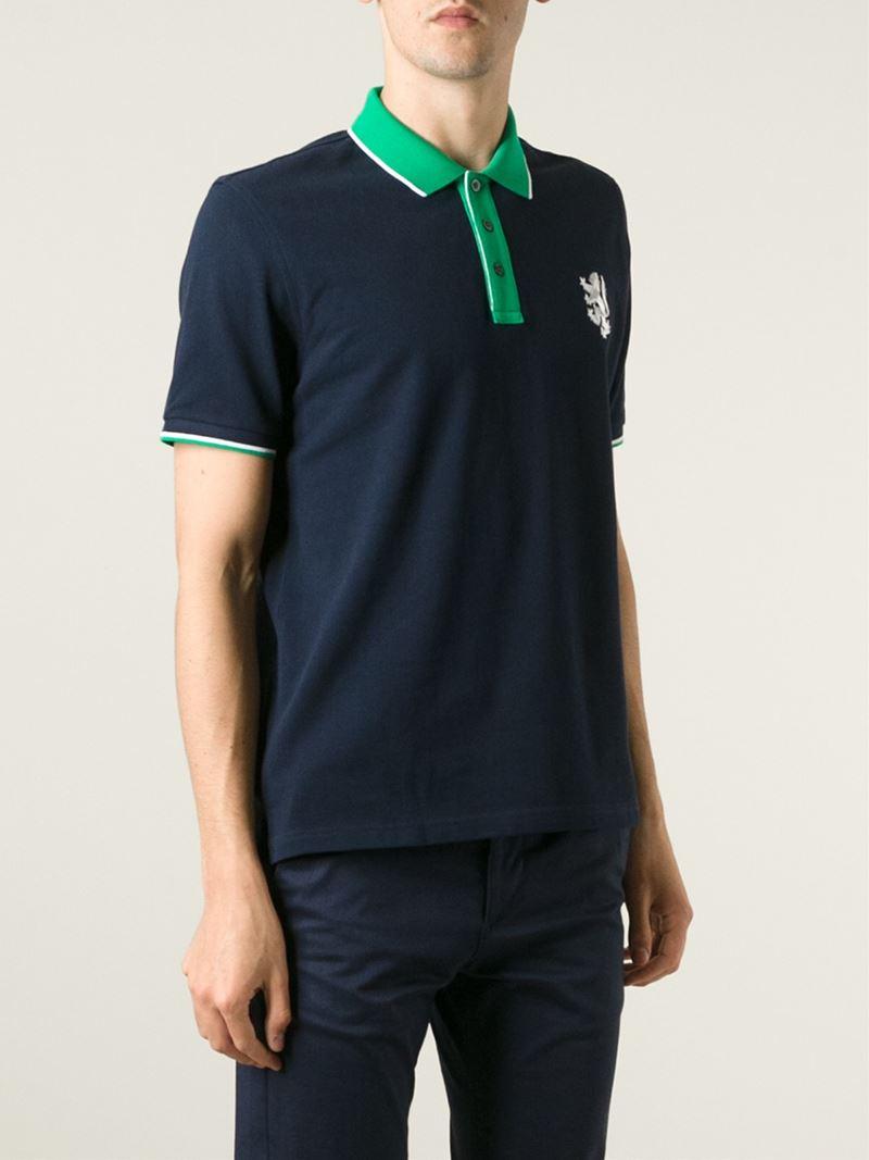 Pringle of Scotland Contrast Collar Polo Shirt in Blue for Men