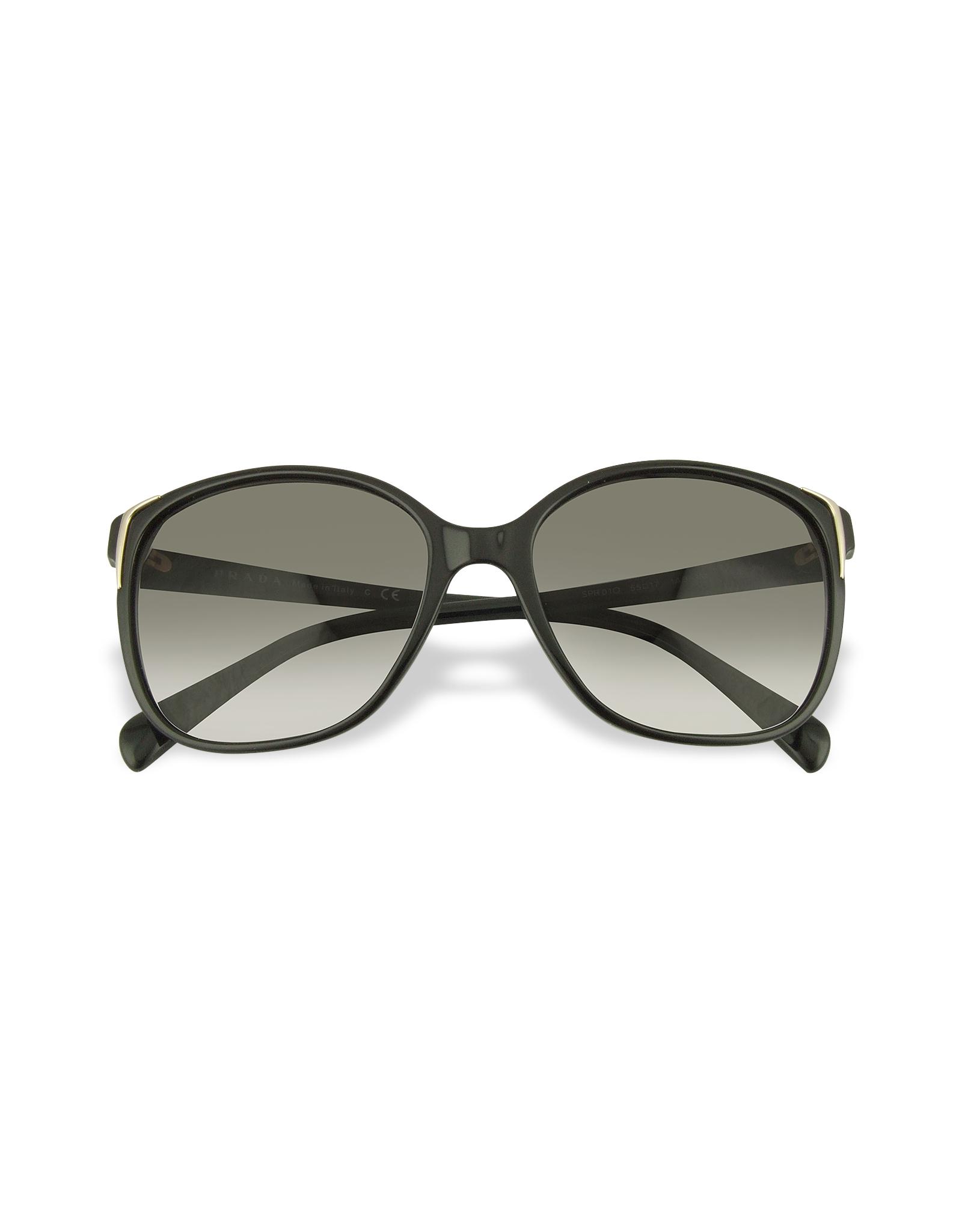 Prada Square Frame Plastic Sunglasses in Black (black/gradient ...