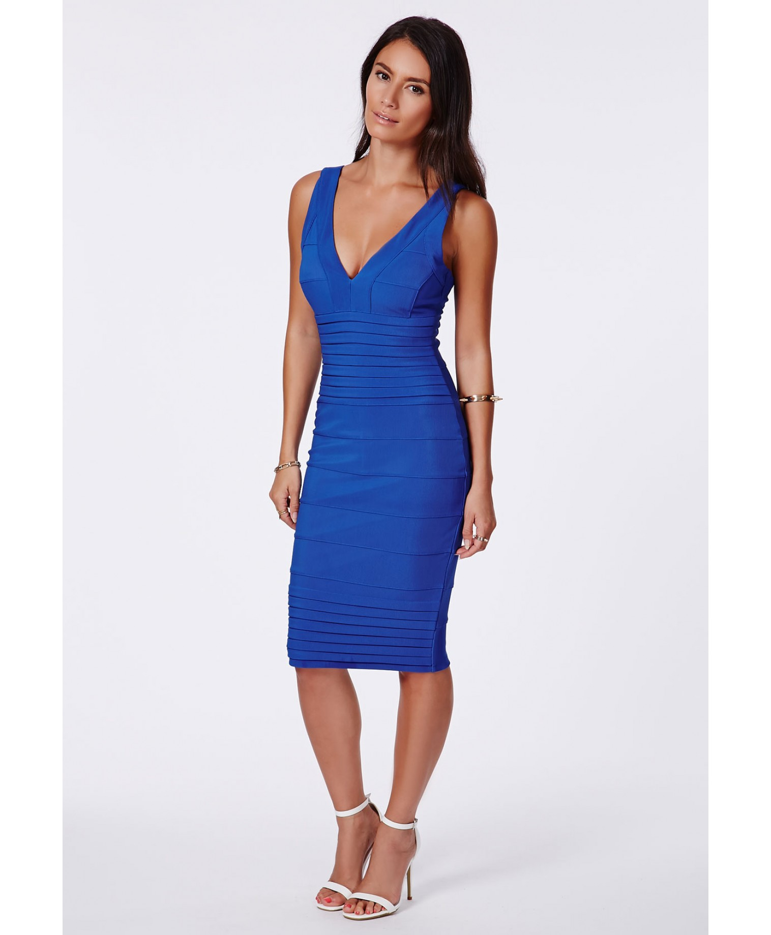 Missguided Mulan Cobalt Blue Bandage Bodycon Midi Dress in ...
