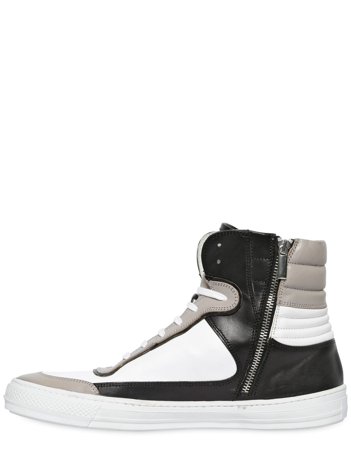 5b2f3e957f3c Diesel Black Gold Leather High Top Sneakers in White for Men - Lyst