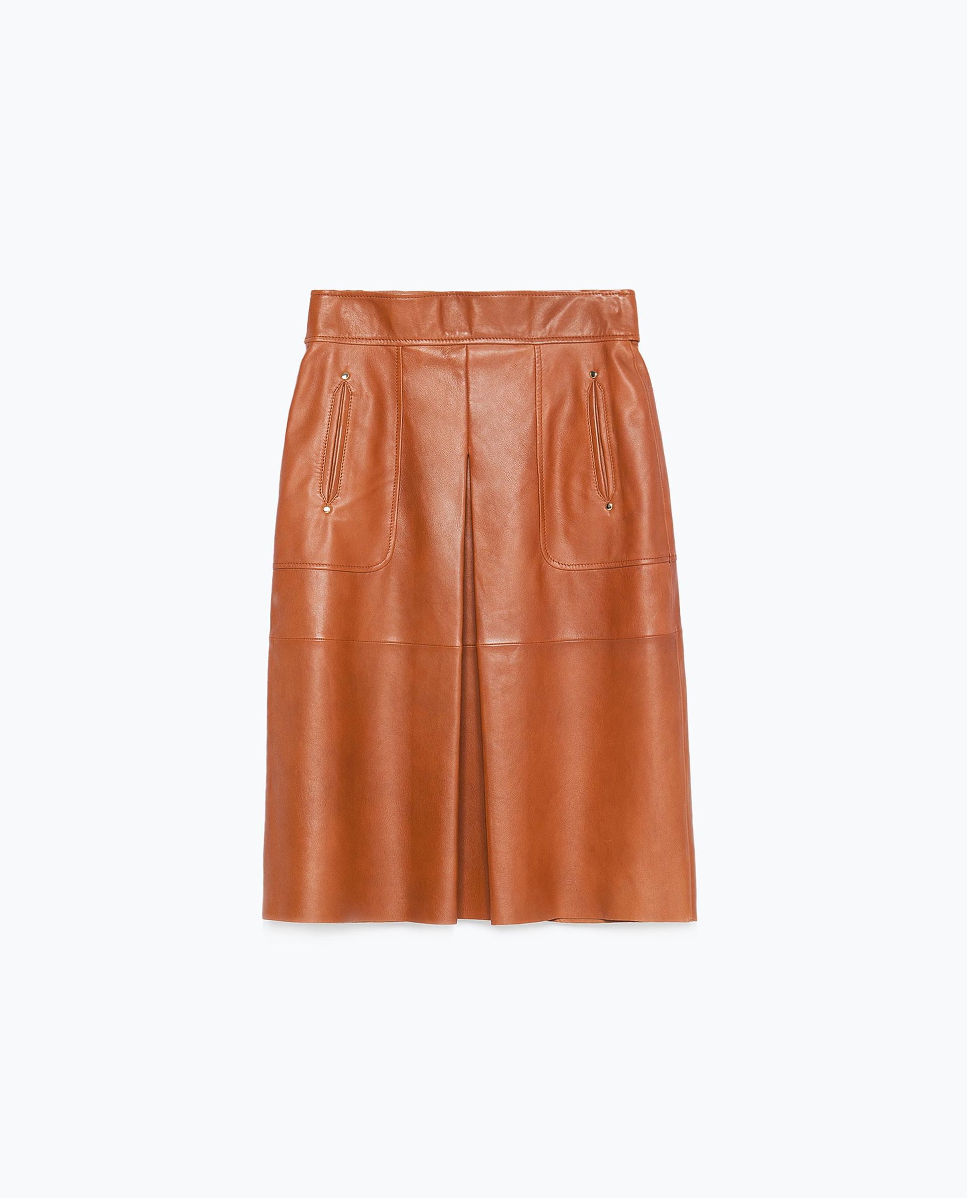 Zara Leather Skirt in Brown | Lyst