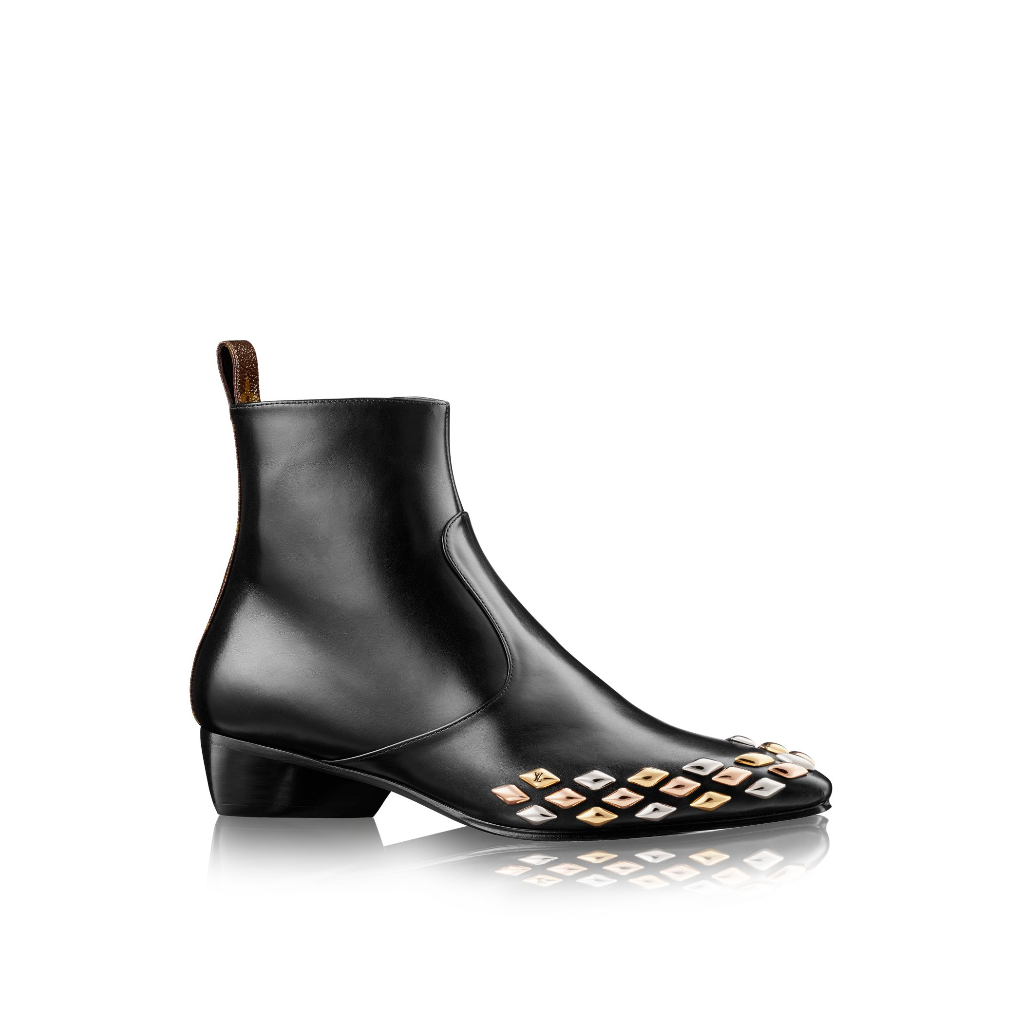louis vuitton gold flat ankle boot in black lyst