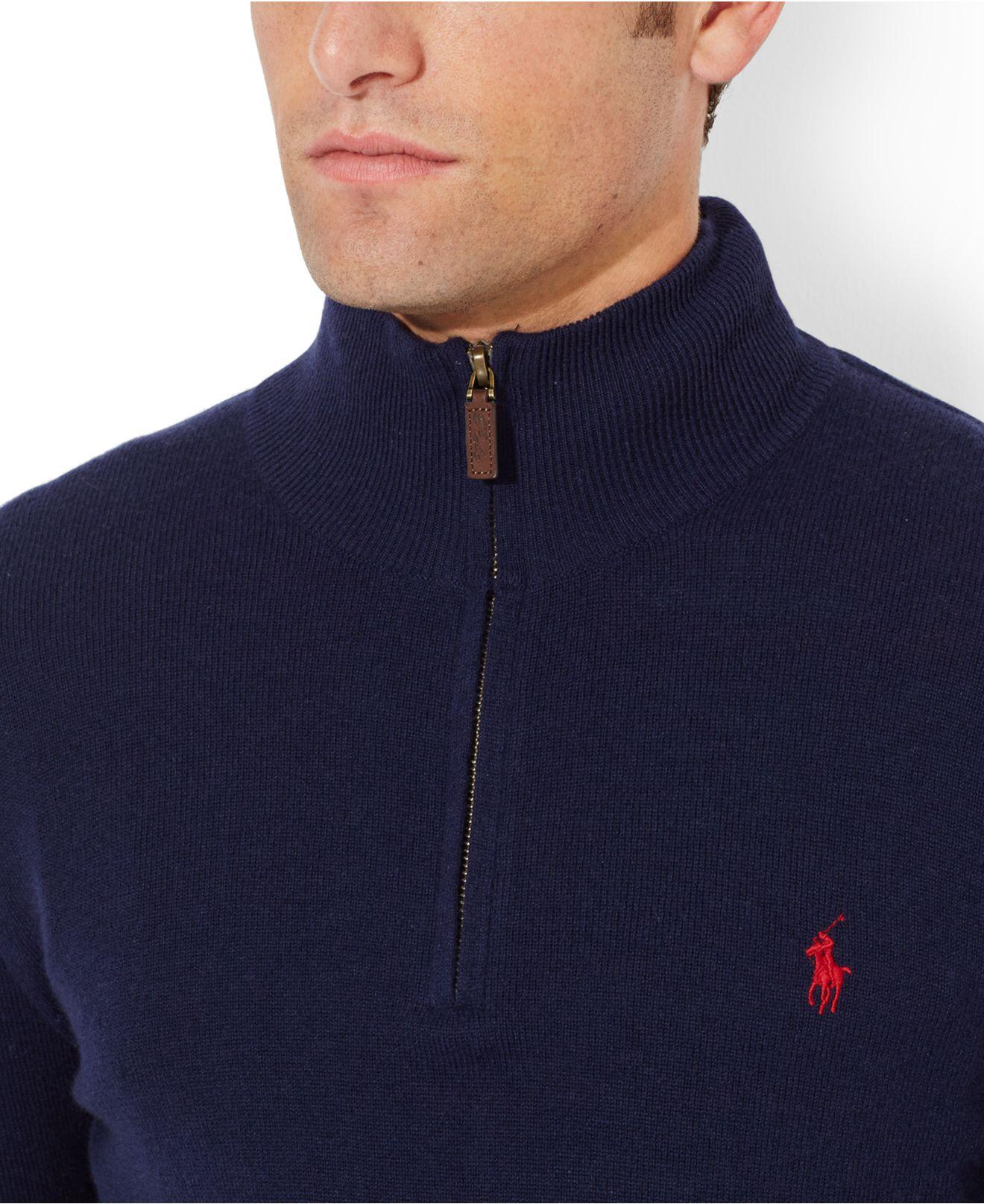 8b61bbeef Lyst - Polo Ralph Lauren Merino Wool Half-Zip Sweater in Blue for Men