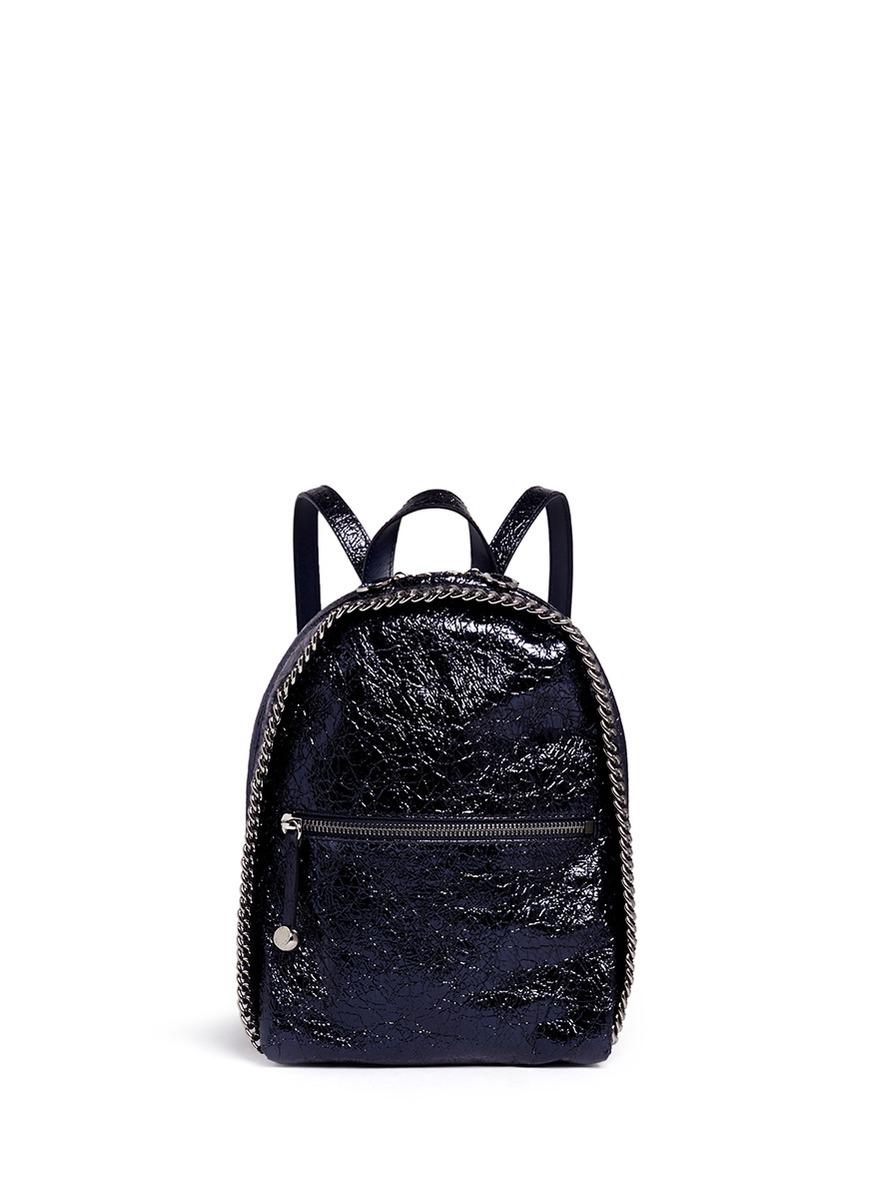 stella mccartney 39 falabella 39 mini metallic backpack in blue lyst. Black Bedroom Furniture Sets. Home Design Ideas