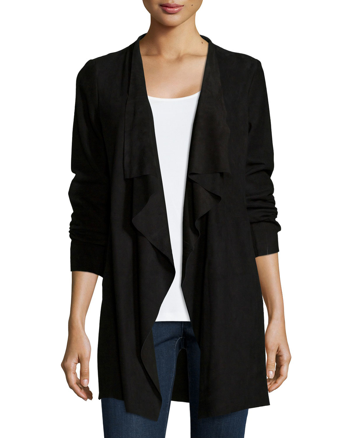 105dcc004 Eileen Fisher Fisher Project Draped Suede Jacket in Black - Lyst