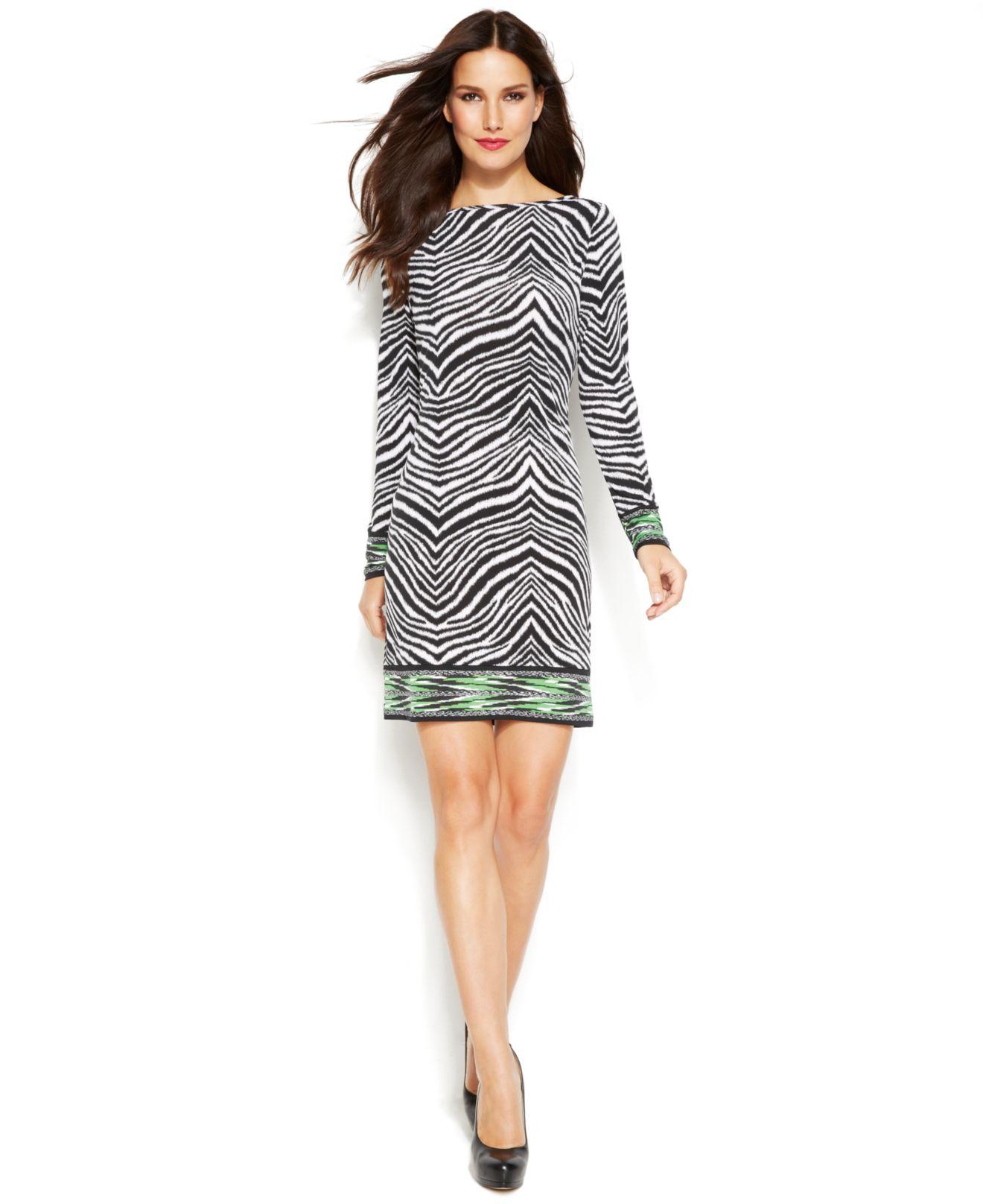 dec07912029b Michael Kors Michael Petite Long-Sleeve Animal-Print Shift Dress - Lyst