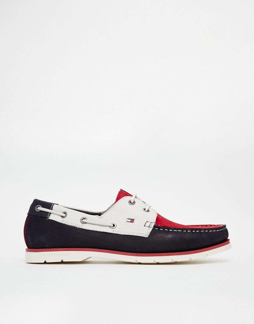 64fe6ac2950f Lyst - Tommy Hilfiger Nubuck Leather Boat Shoes in Red for Men