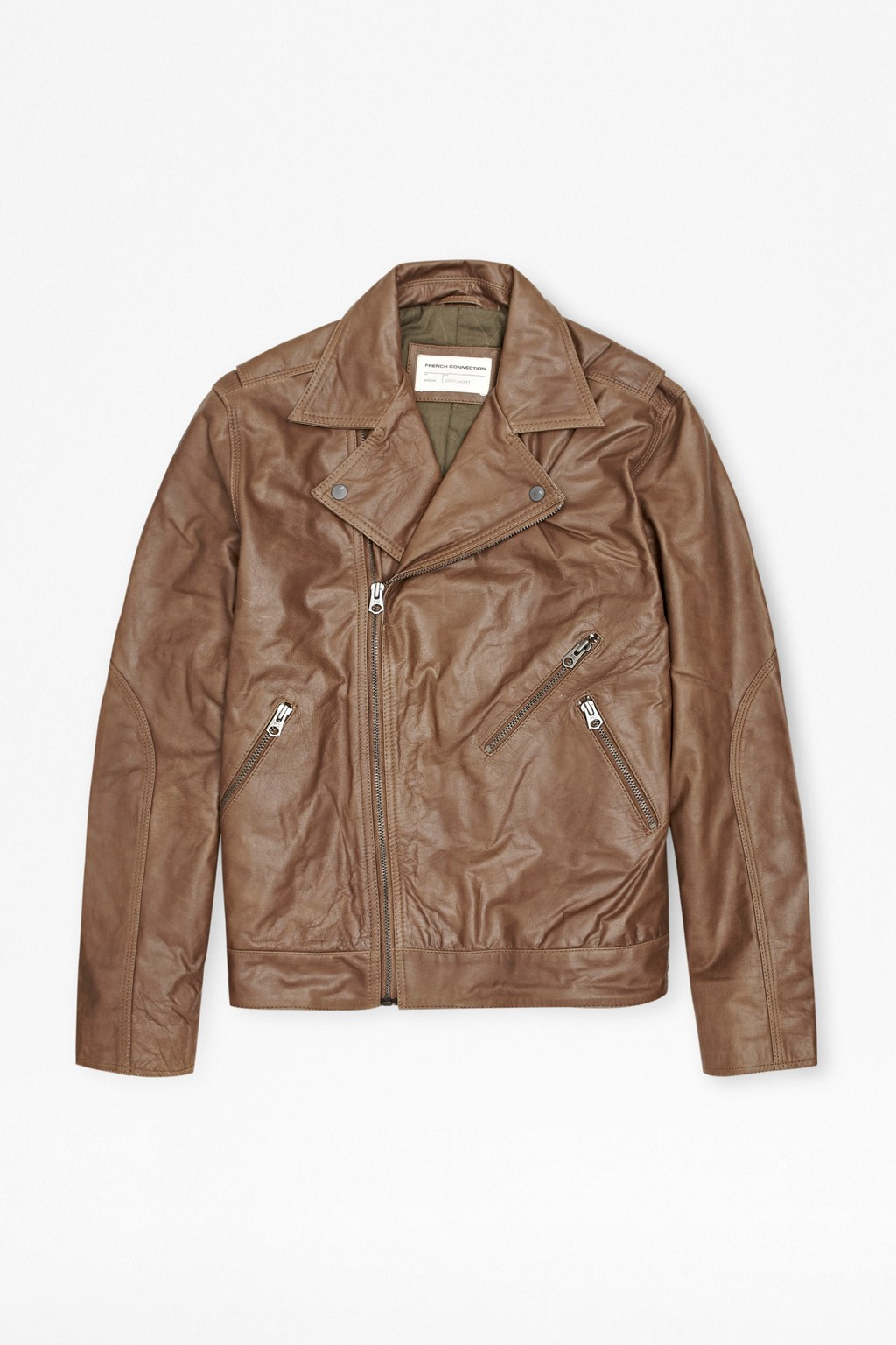 French Connection Sabah Leather Biker Jacket in Chocolate (Black) for Men