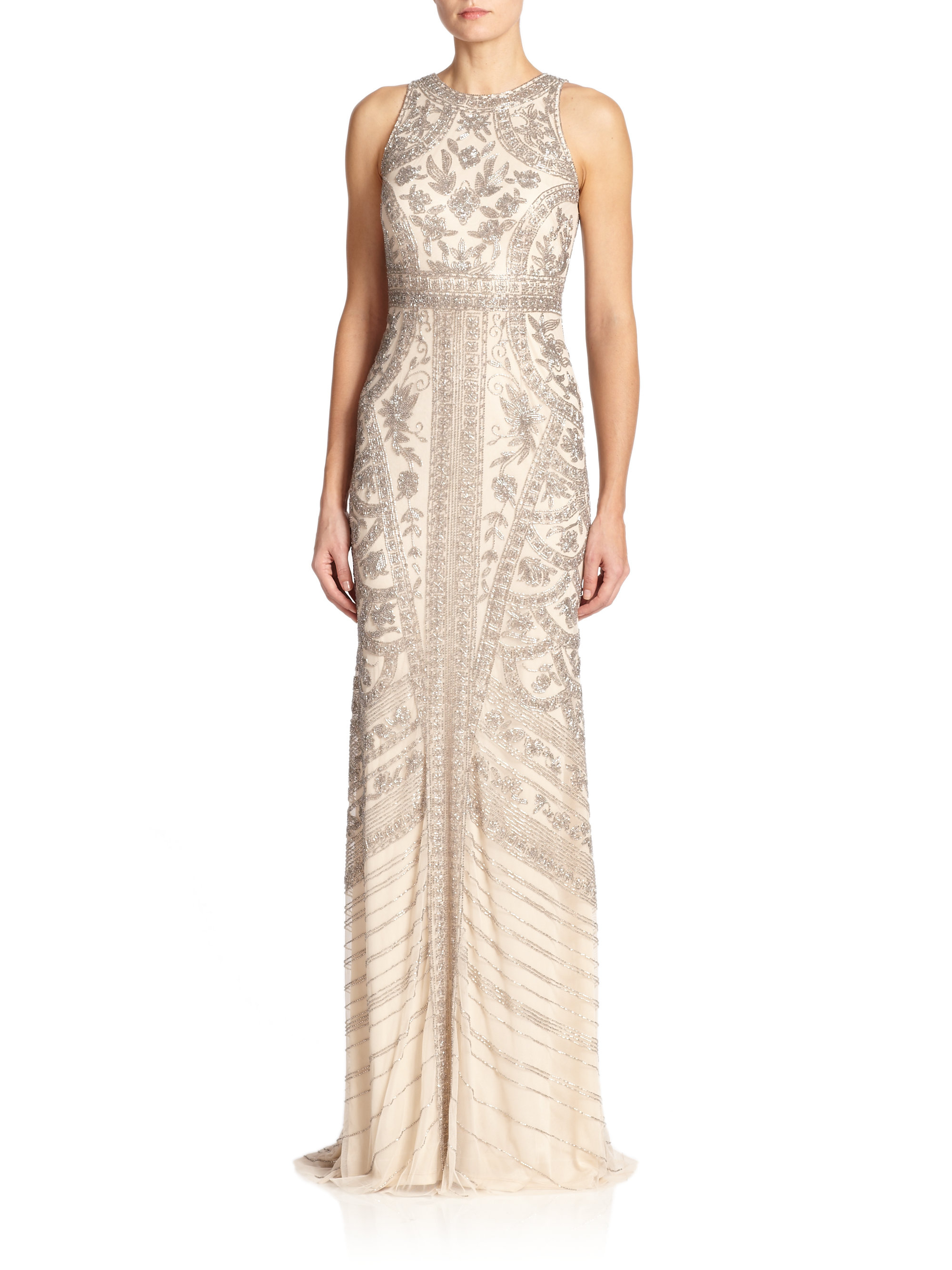 Theia Beaded Halter Gown in Metallic | Lyst
