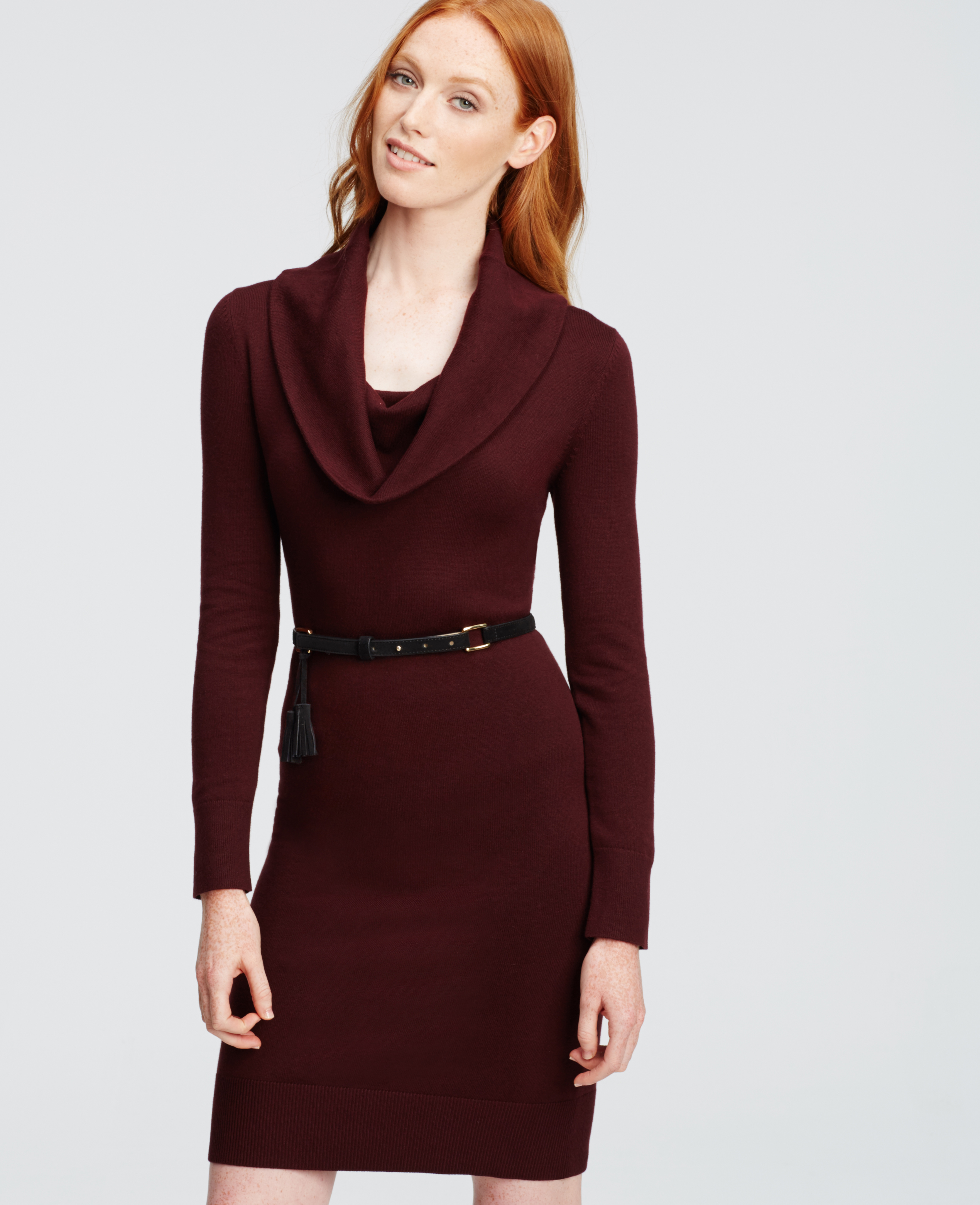 Ann taylor Petite Cowl Neck Sweater Dress in Purple | Lyst