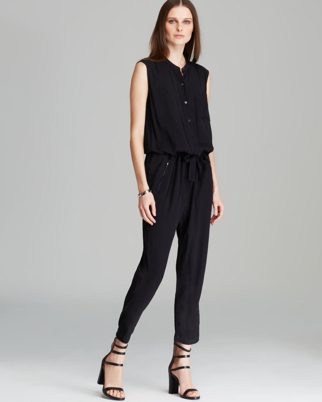 Dkny Pure Sleeveless Shiny Yoke Jumpsuit In Black Lyst