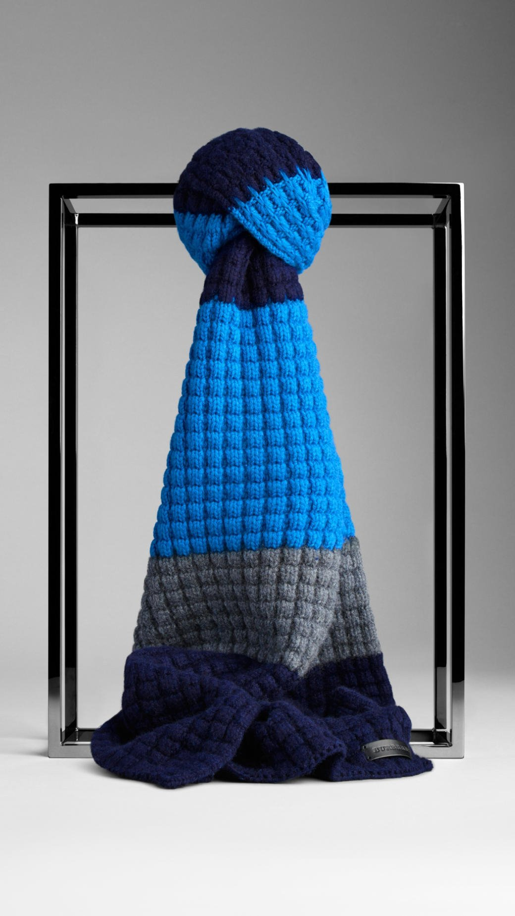 Knitting Pattern Burberry Scarf : Burberry Waffle Knit Wool Cashmere Scarf in Blue for Men (cerulean blue/navy)...