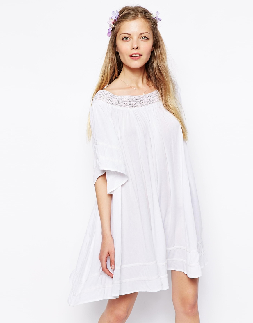 a5c9a8d0aa ASOS Off Shoulder Swing Dress in Cheesecloth in White - Lyst