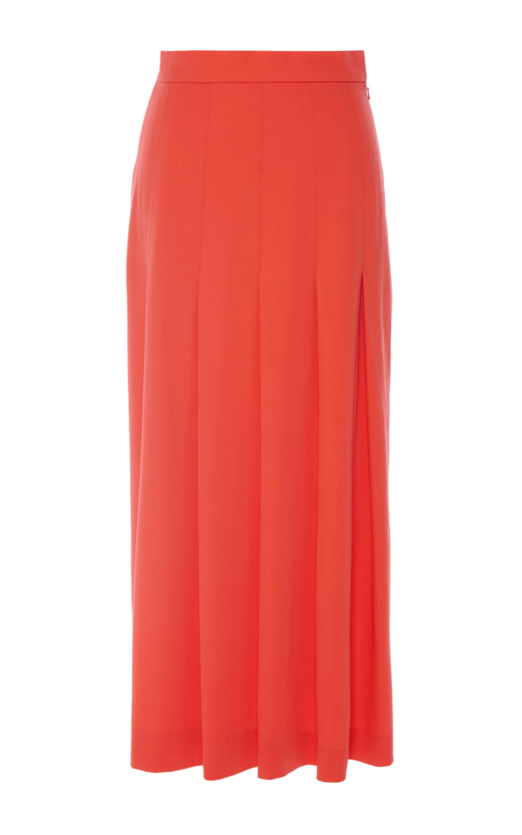 of pearl dune stretch wool pleated skirt in lyst