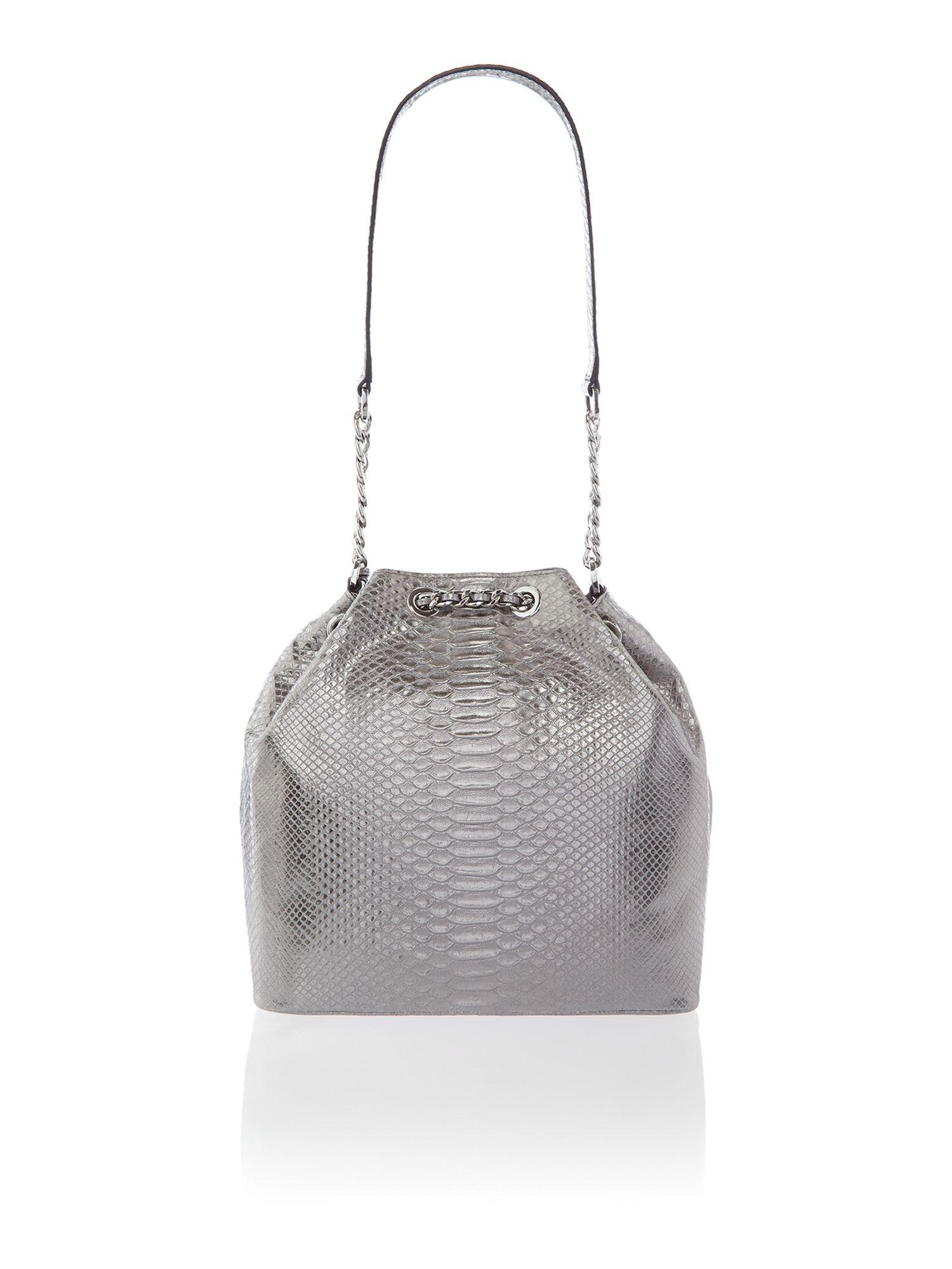 michael kors frankie silver snake duffle bag in silver lyst. Black Bedroom Furniture Sets. Home Design Ideas