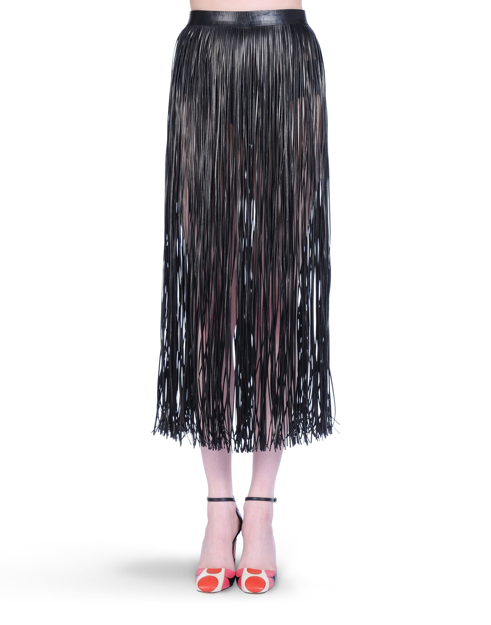 Valentino Leather Fringe Skirt in Black | Lyst