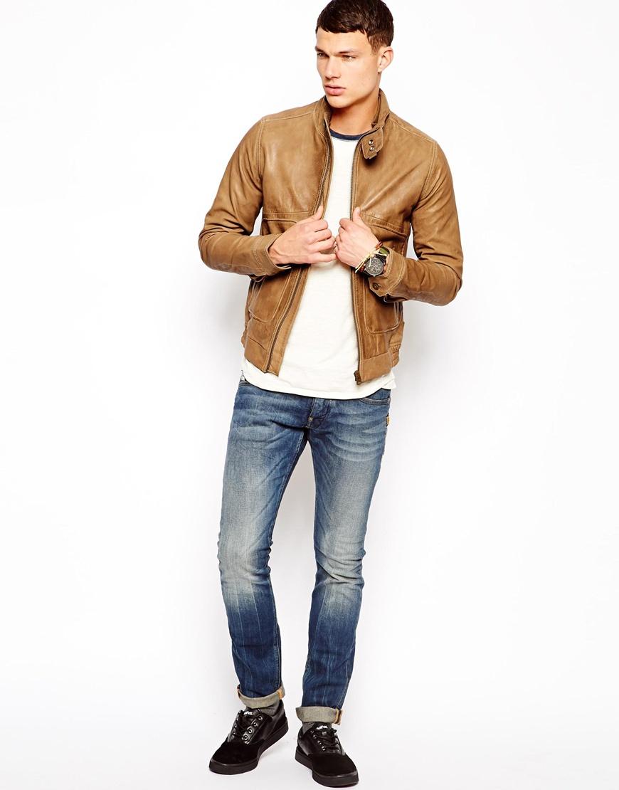 g star raw leather jacket in brown for men lyst. Black Bedroom Furniture Sets. Home Design Ideas