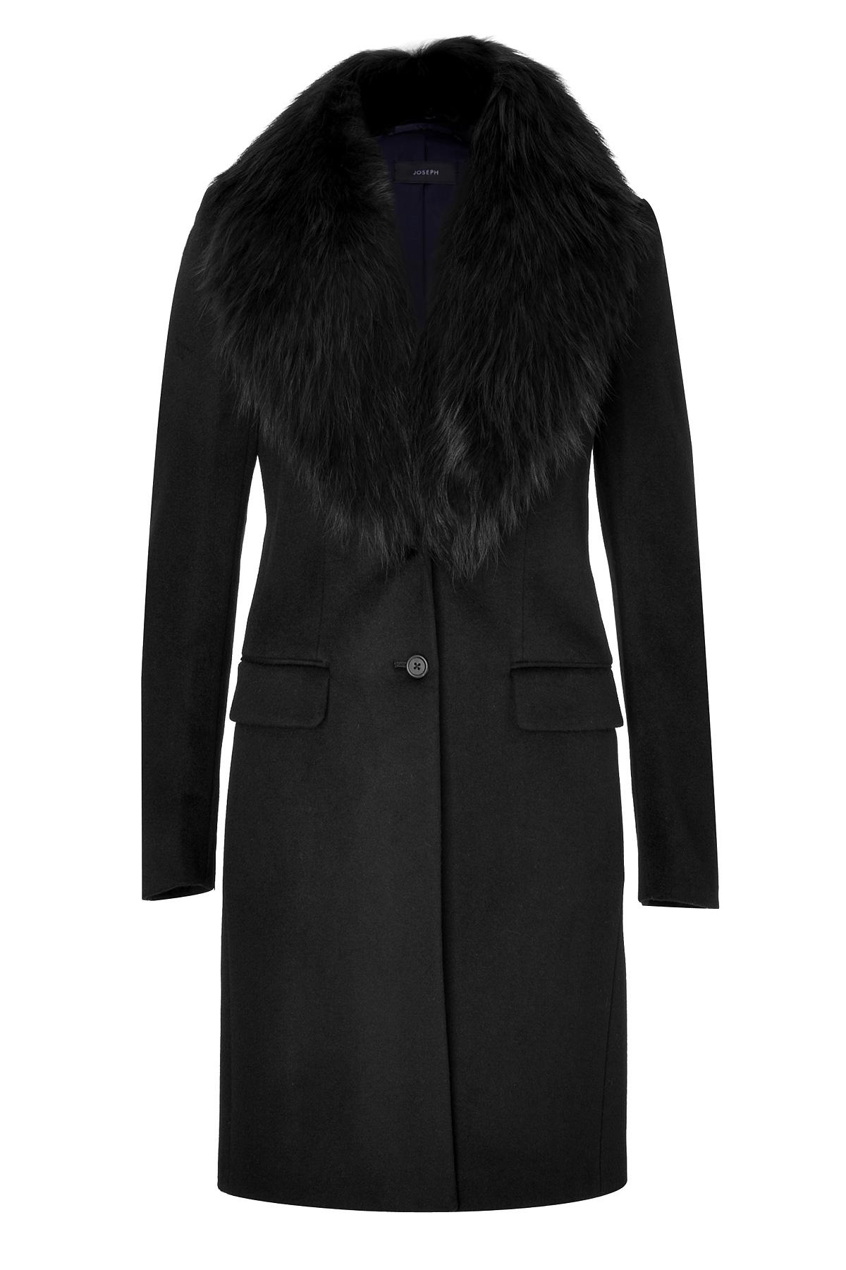 Joseph Wool-Cashmere Coat With Fur Collar in Black | Lyst